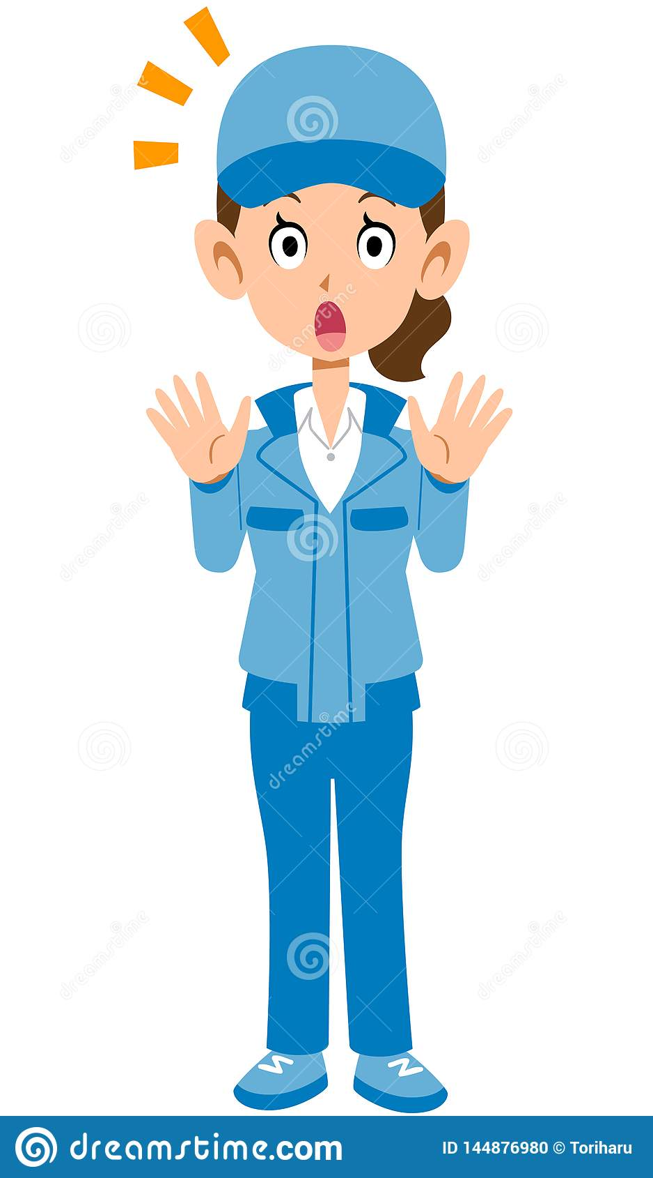 Изображение удивленной голубой женщины workwear