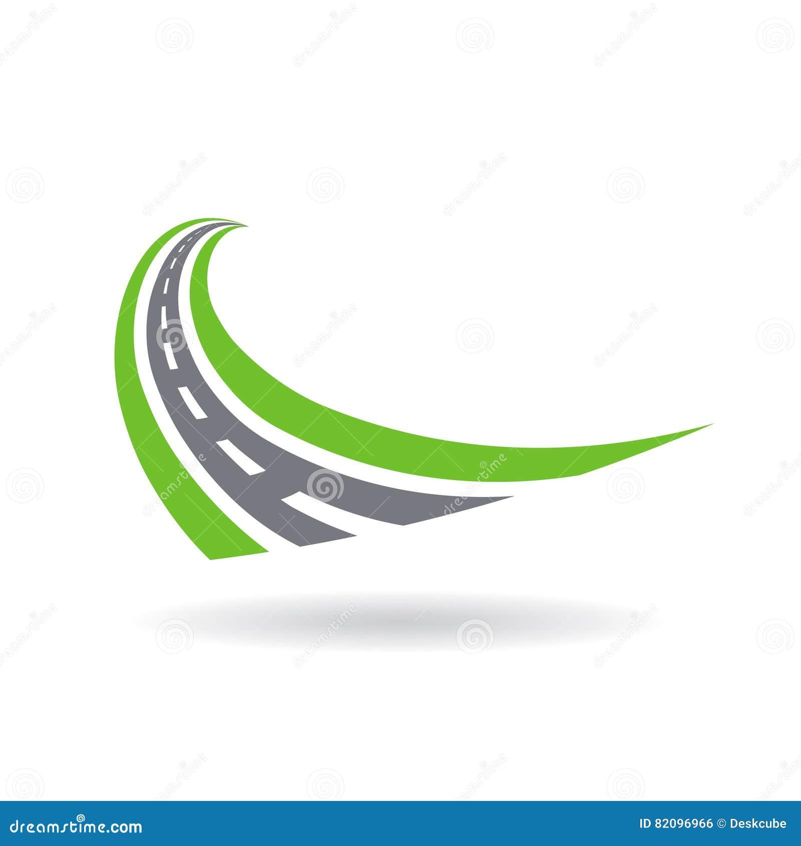 Изогнутый вымощенный логотип дороги