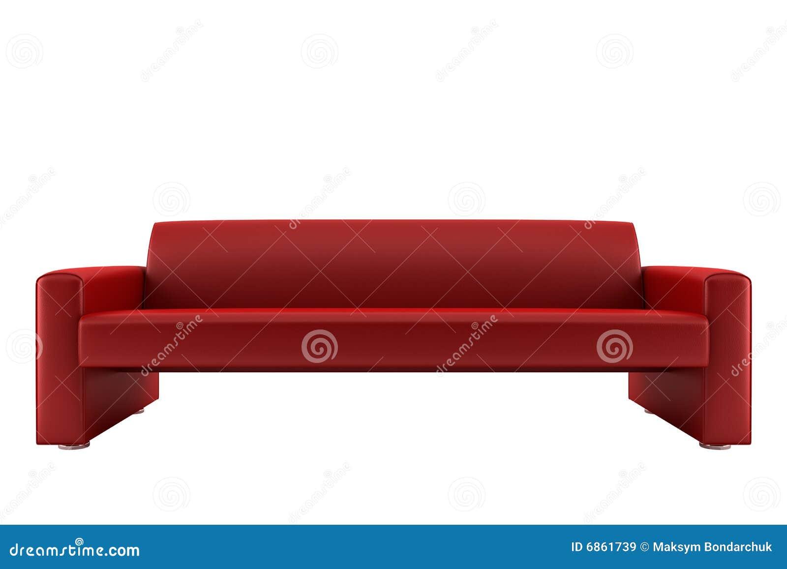 изолированная красная белизна софы