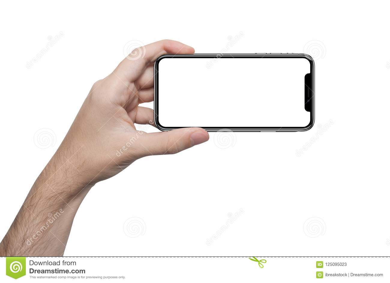 Изолированная мужская рука держа телефон изолировала экран