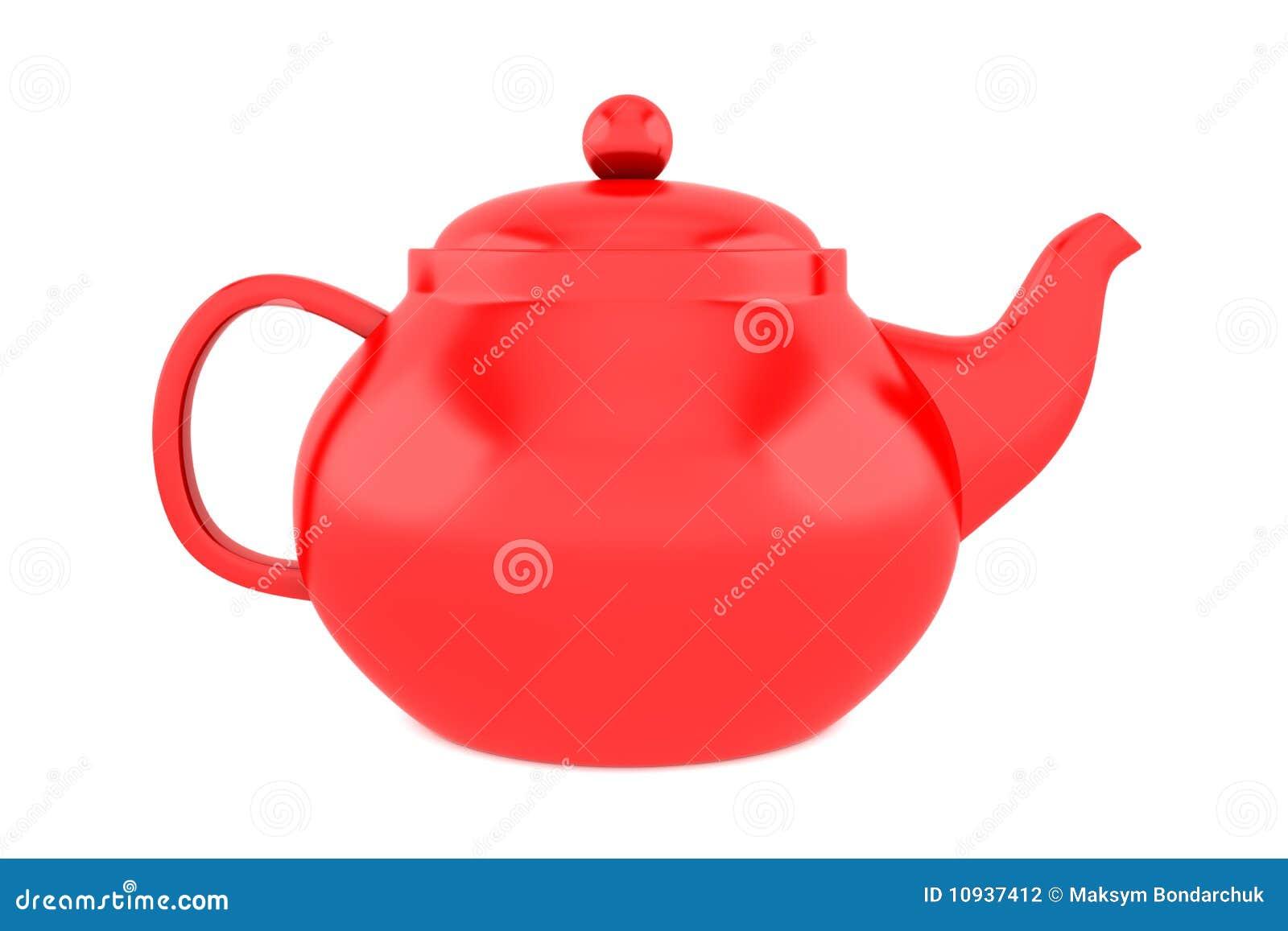 изолированная предпосылкой красная белизна чайника