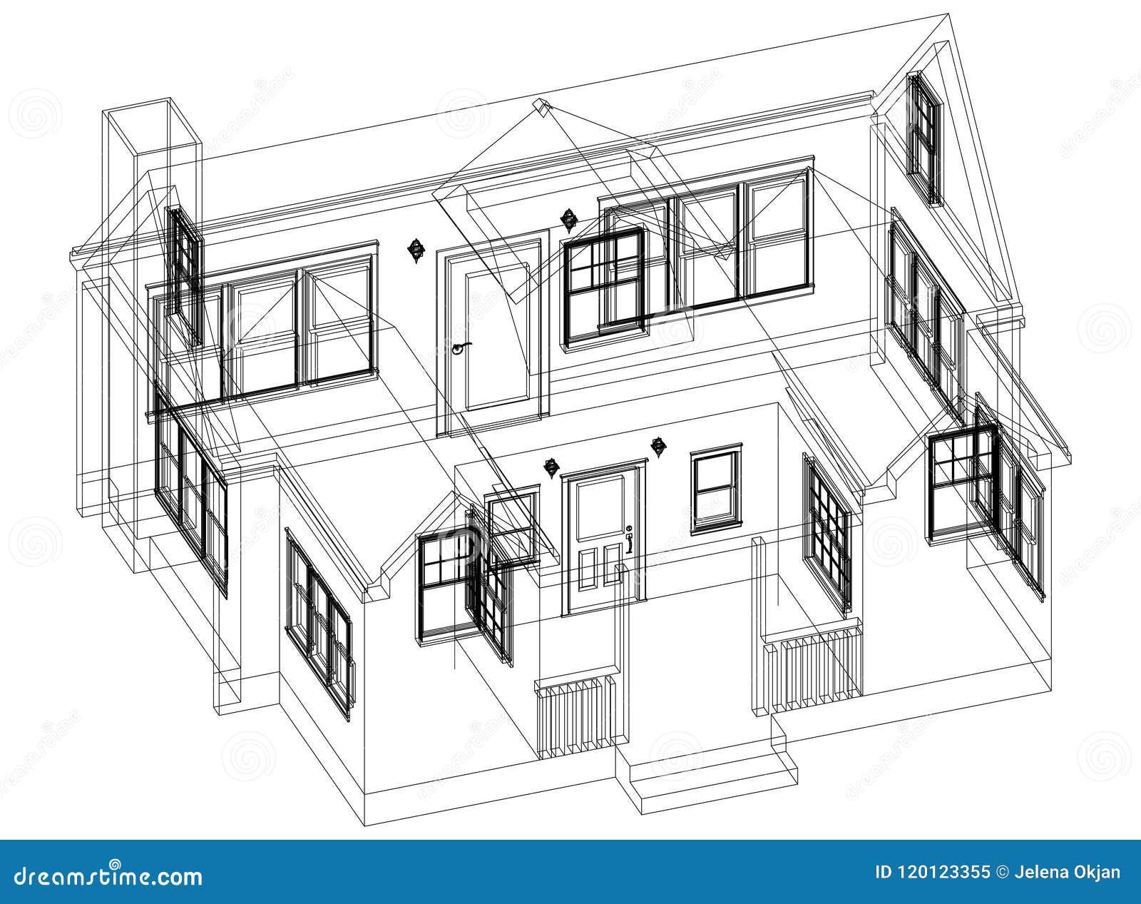 Изолированная светокопия архитектора дизайна дома -