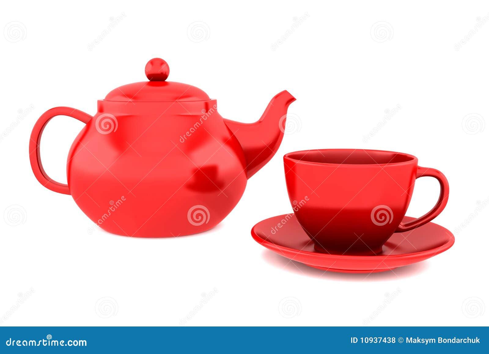 изолированная чашкой красная белизна чайника