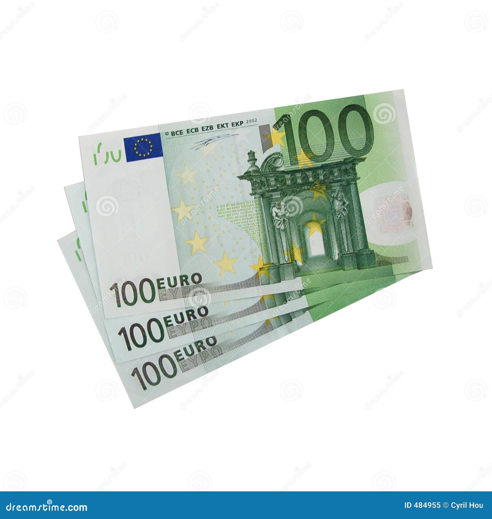 изолированное евро 100 счетов 3x