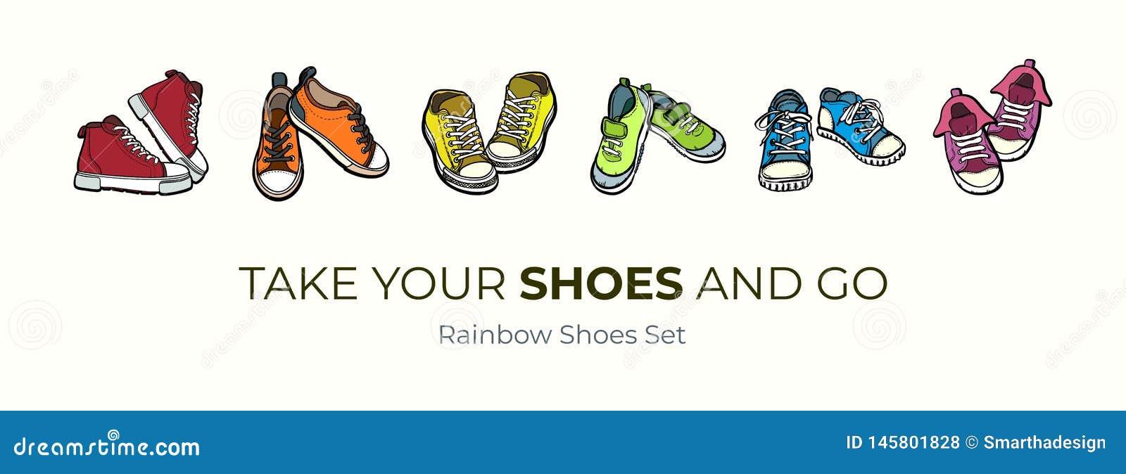 Изолированные пары ботинок тапок Иллюстрация вектора руки вычерченная установила покрашенных ботинок Ботинки спорта вручают нарис