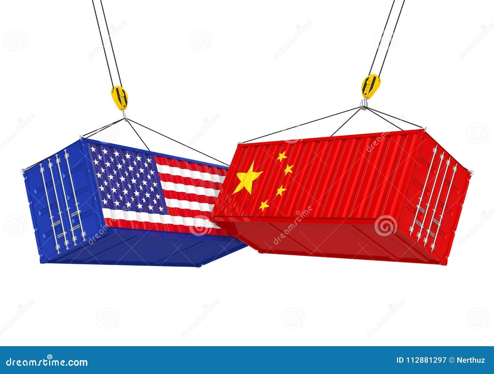 Изолированный грузовой контейнер Соединенных Штатов и Китая Концепция торговой войны