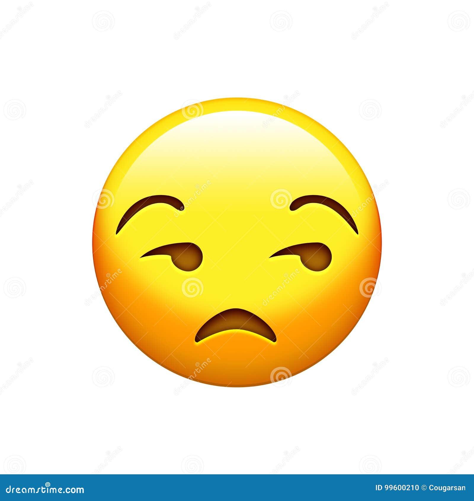 Изолированный лоск желтого цвета emoji, расстроенный значок стороны