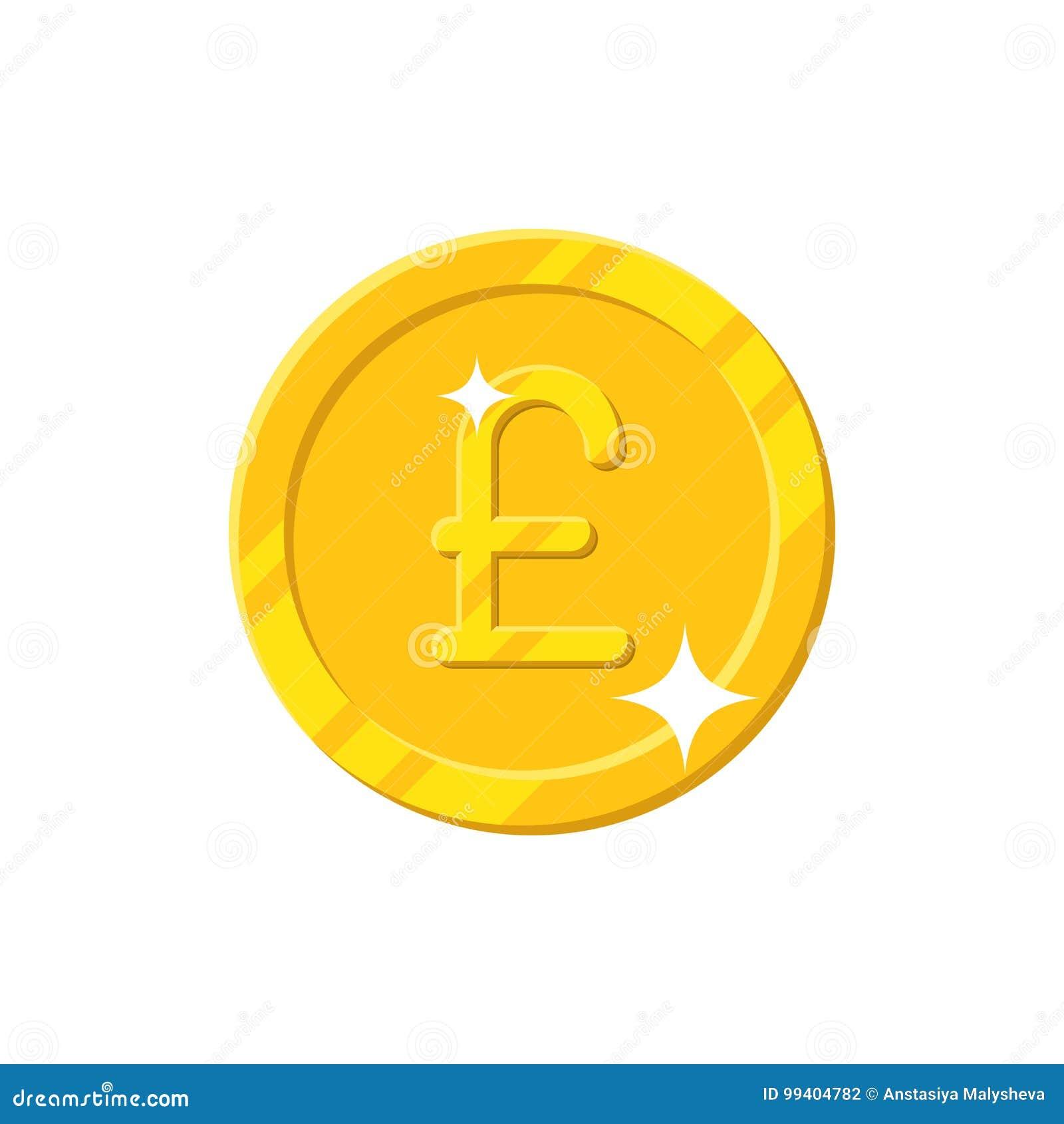 Изолированный стиль шаржа монетки фунта золота
