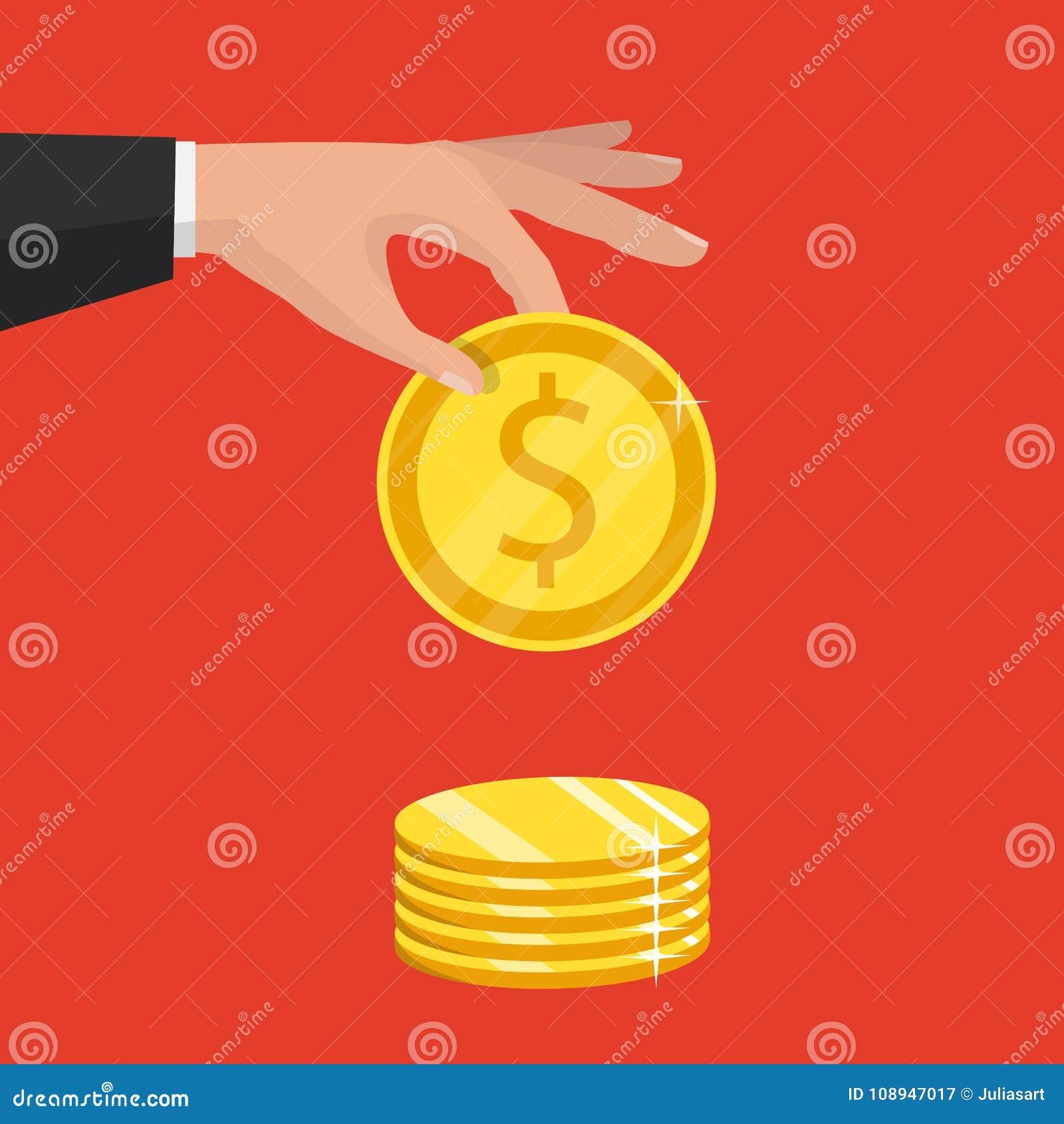 Изолировано на предпосылке также вектор иллюстрации притяжки corel рука золота монетки