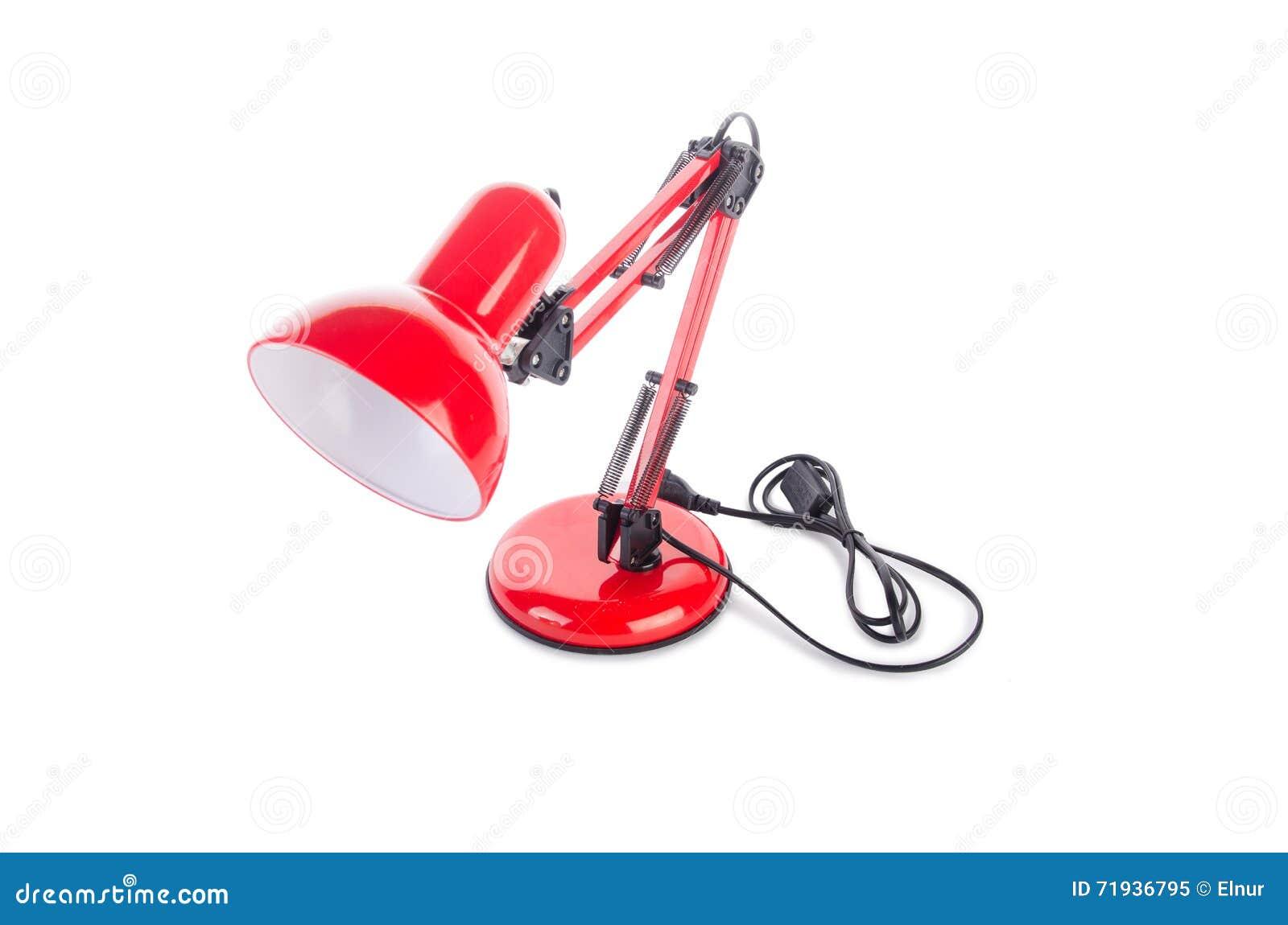 Изолированная лампа красной столешницы регулируемая на белизне