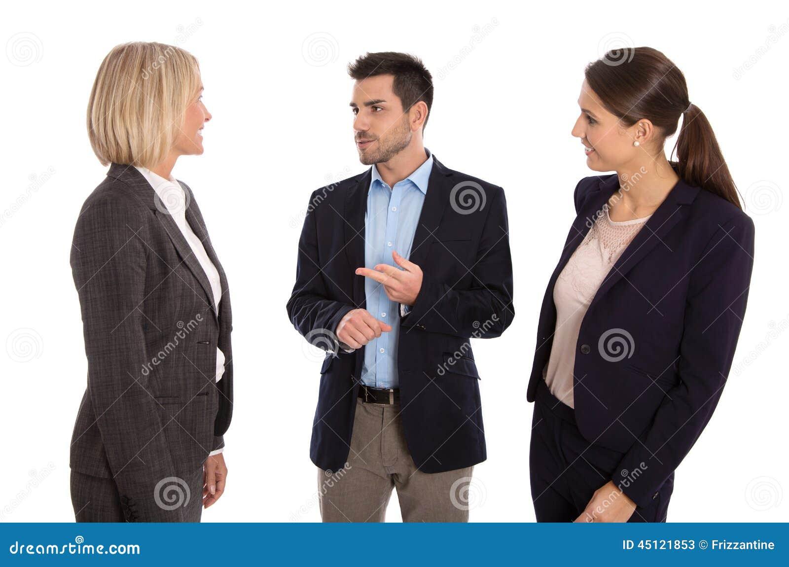 Изолированная команда дела: человек и женщина говоря совместно