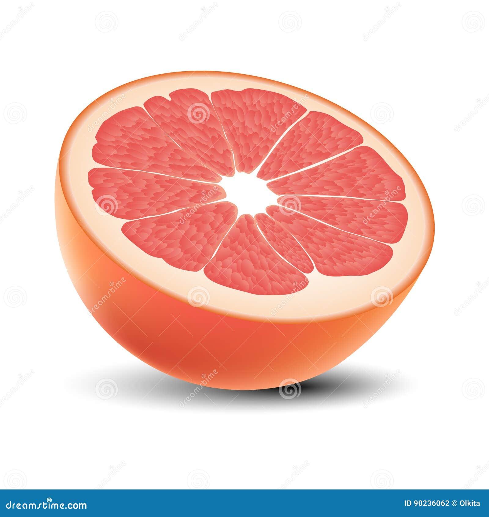 Изолированная покрашенная половина сочного розового грейпфрута с тенью на белой предпосылке реалистическо