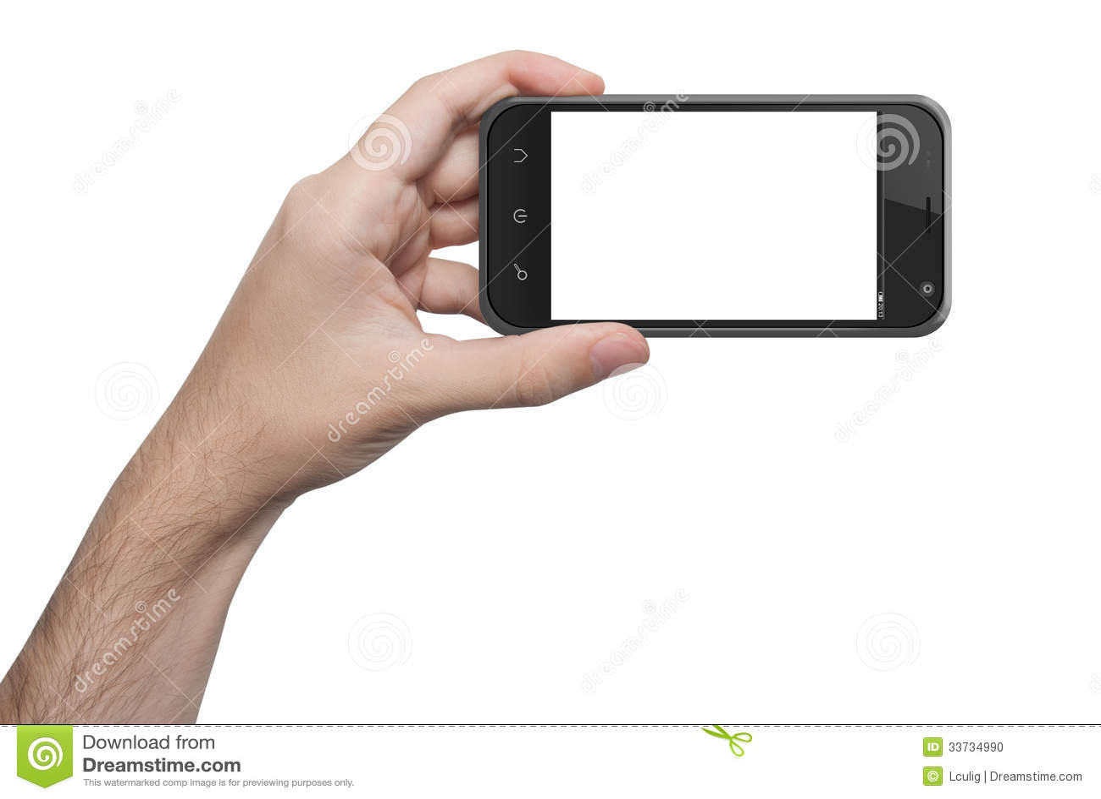 Изолированная рука женщины держа телефон изолировала экран
