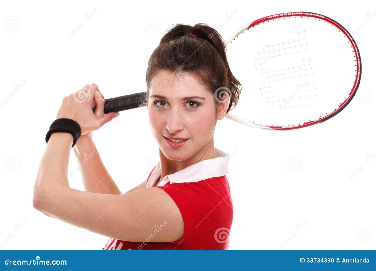 Изолированное изображение студии от молодой женщины с ракеткой тенниса