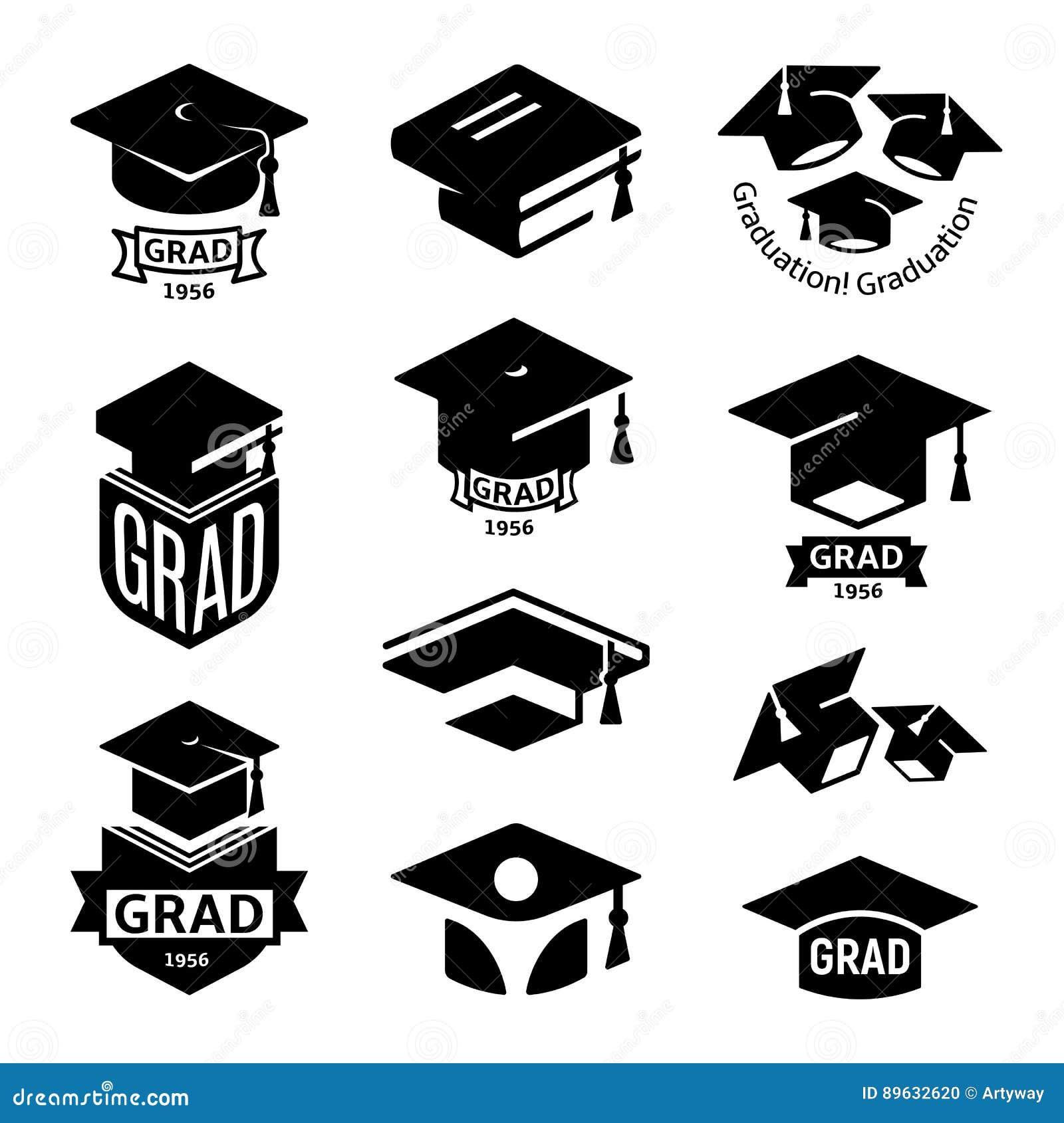 Изолированное черно-белое собрание логотипа шляпы градации студентов цвета, mortarboard комплекта логотипа книг, университета