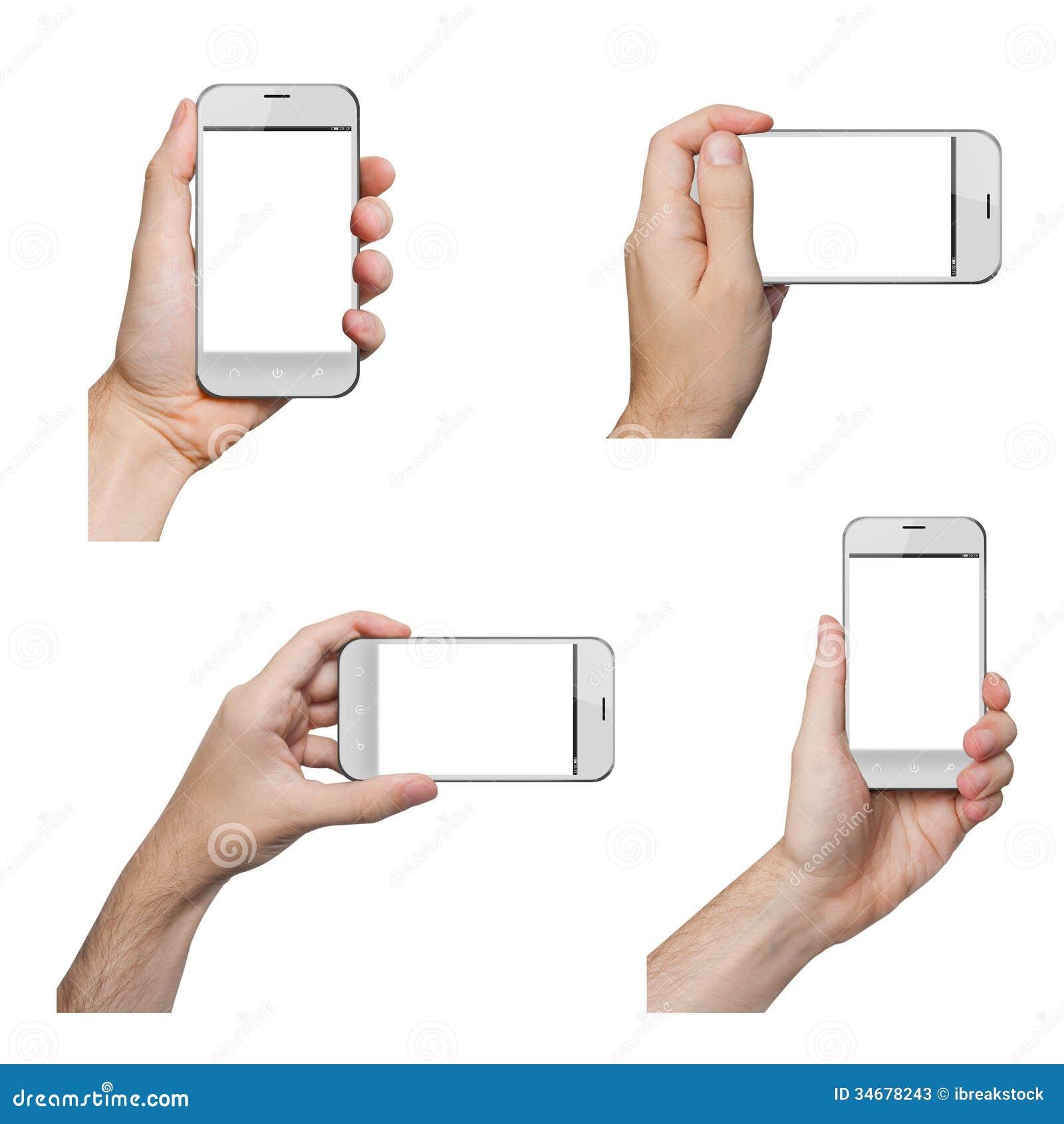 Изолированные мужские руки держа белый телефон
