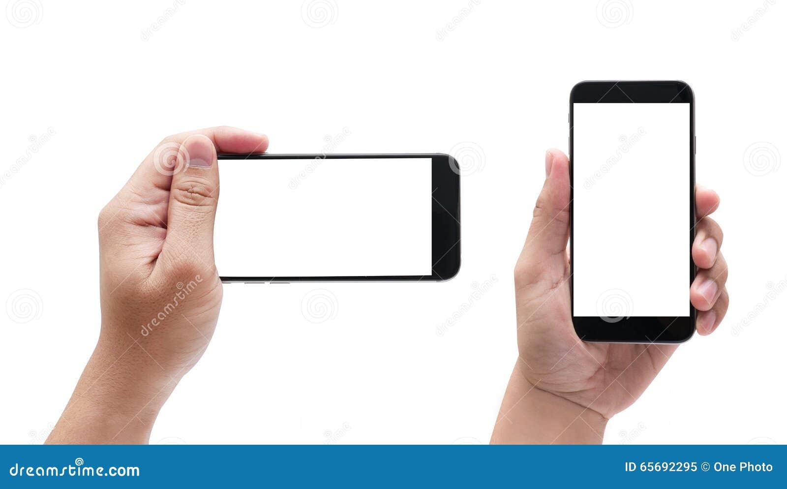 Изолированные мужские руки держа телефон подобный к iphone в diffe