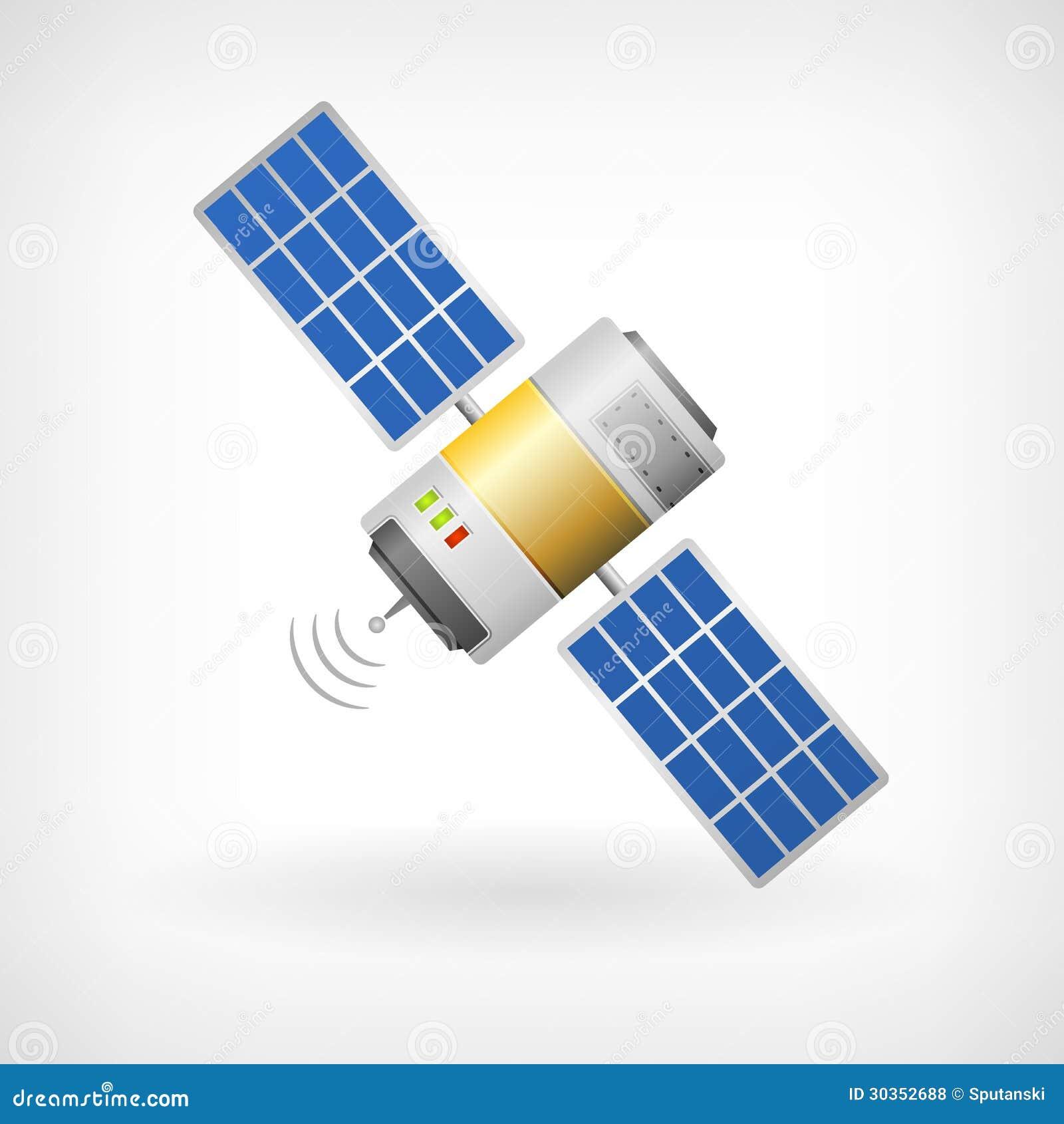Изолированный значок спутника связи