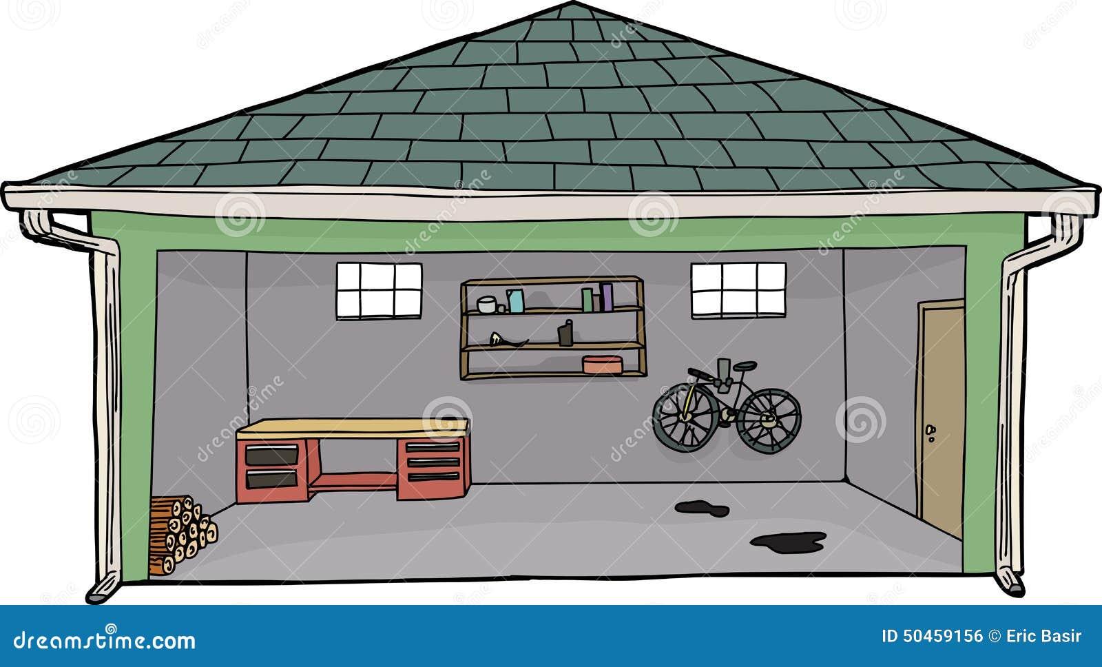 Изолированный открытый гараж с велосипедом