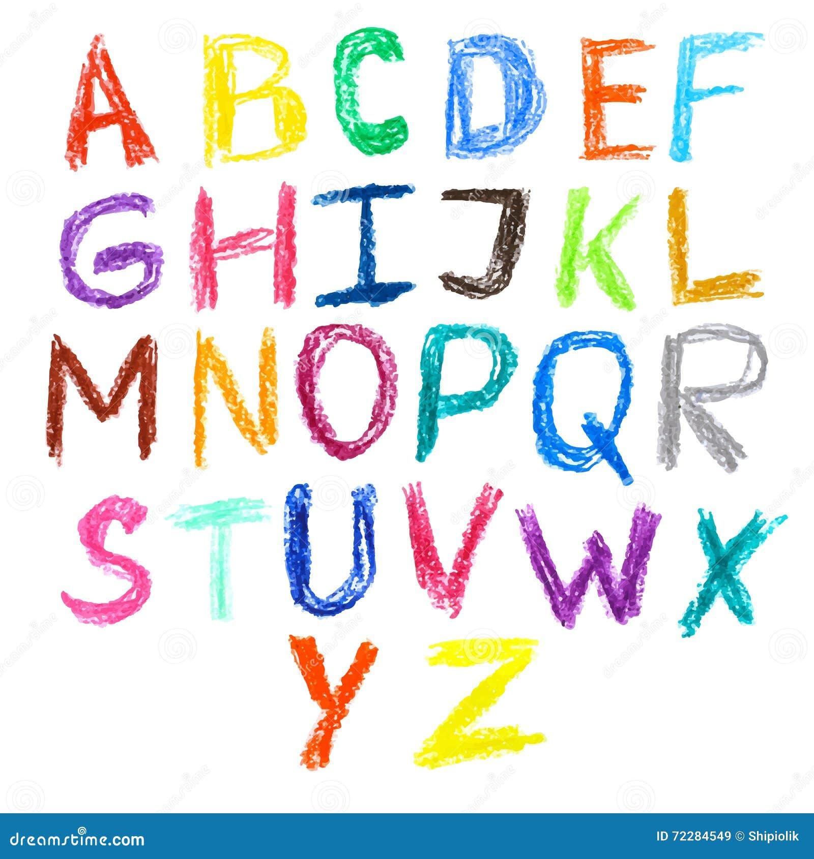 Download Изолированный шрифт Crayon нарисованный детьми красочный Иллюстрация вектора - иллюстрации насчитывающей doodle, письмо: 72284549