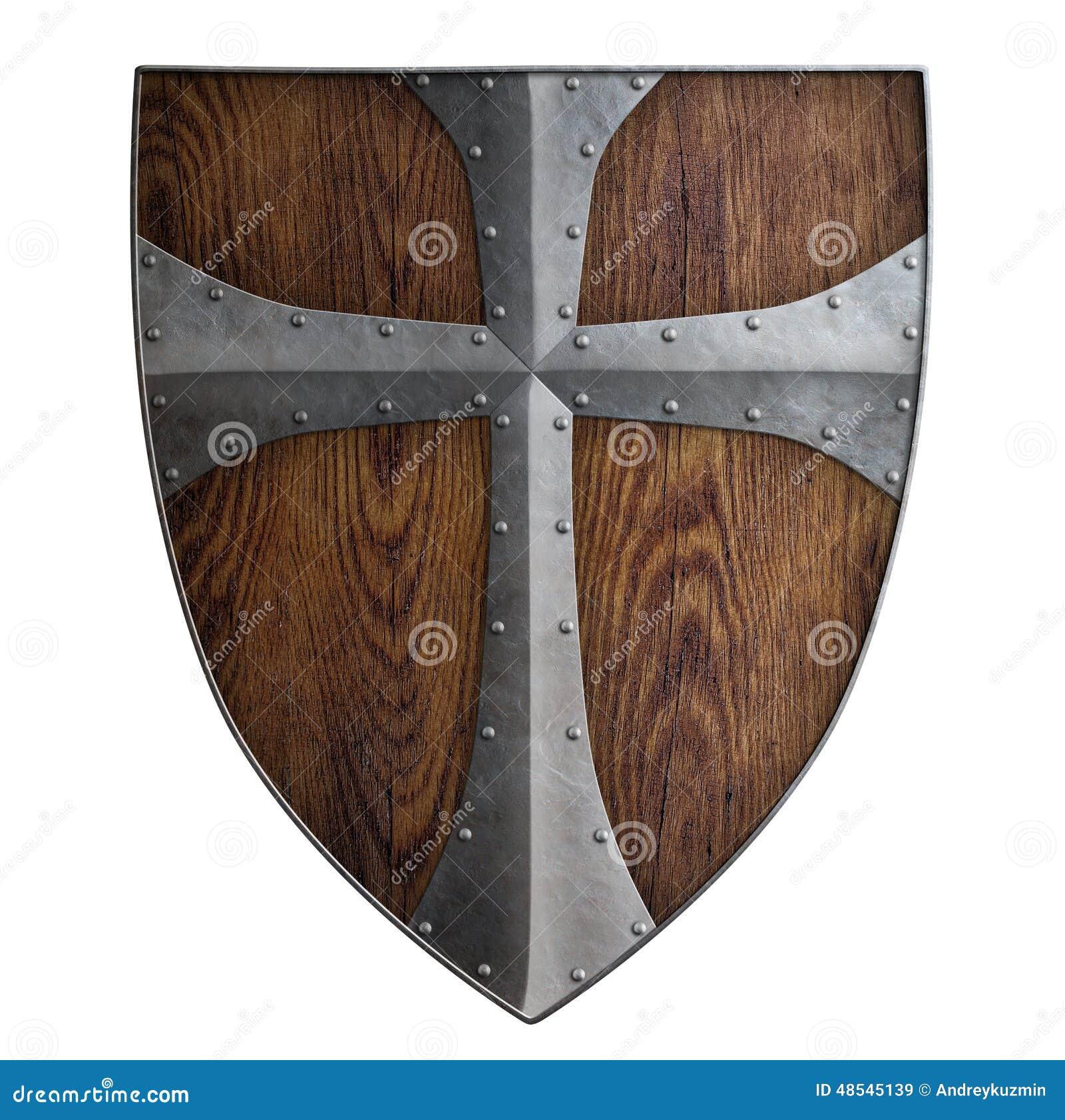 Изолированный экран средневекового крестоносца деревянный