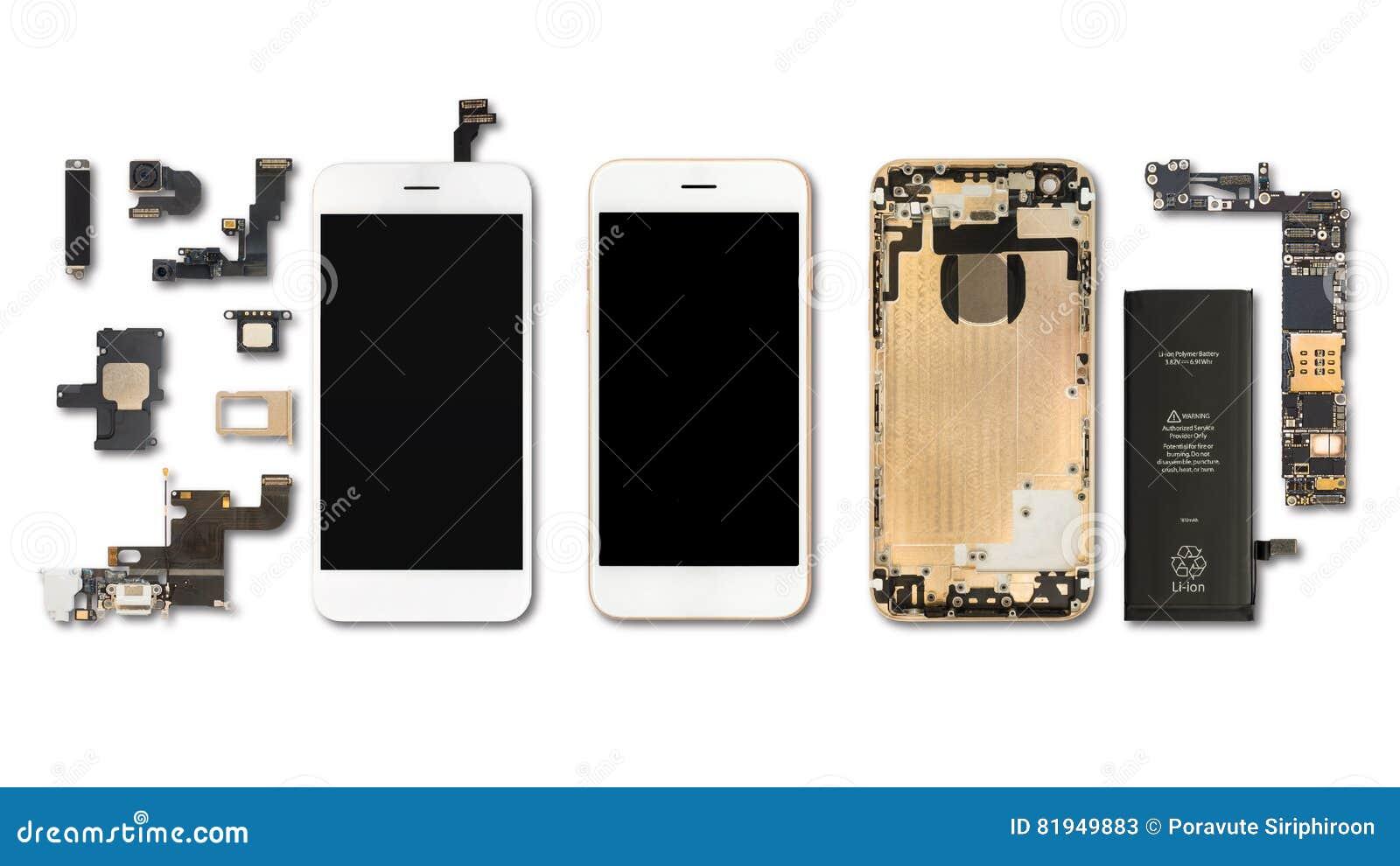 Изолят компонентов Smartphone на белизне