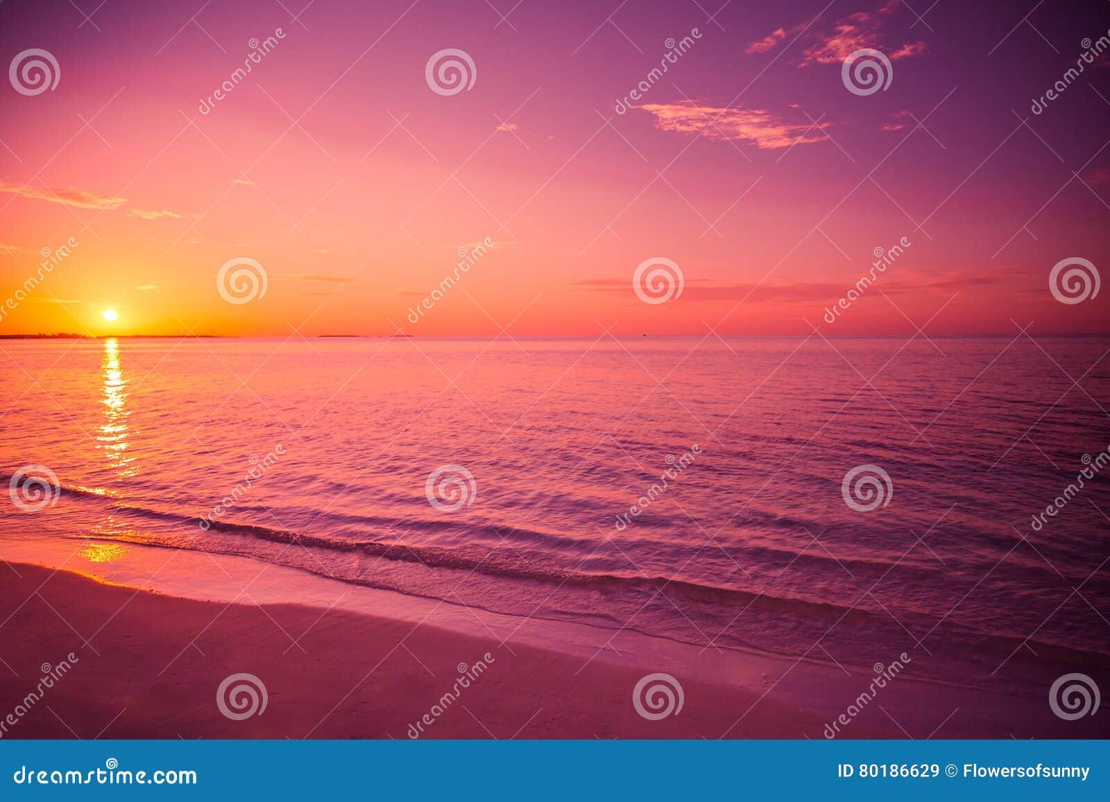 Изумительный заход солнца пляжа Расслабляющие цвета с мягкими волнами