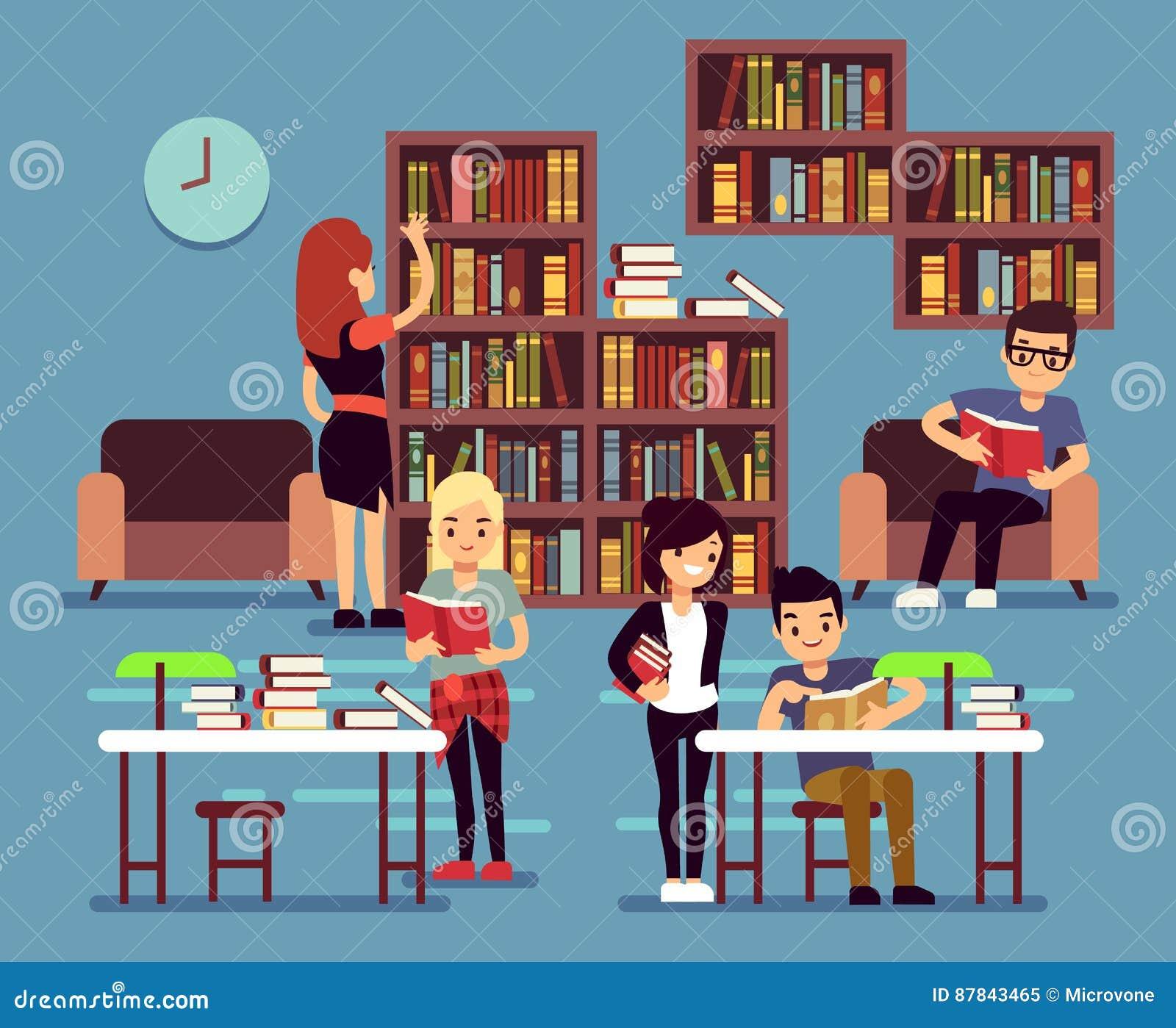 Изучающ студенты в интерьере библиотеки с книгами и книжными полками vector иллюстрация