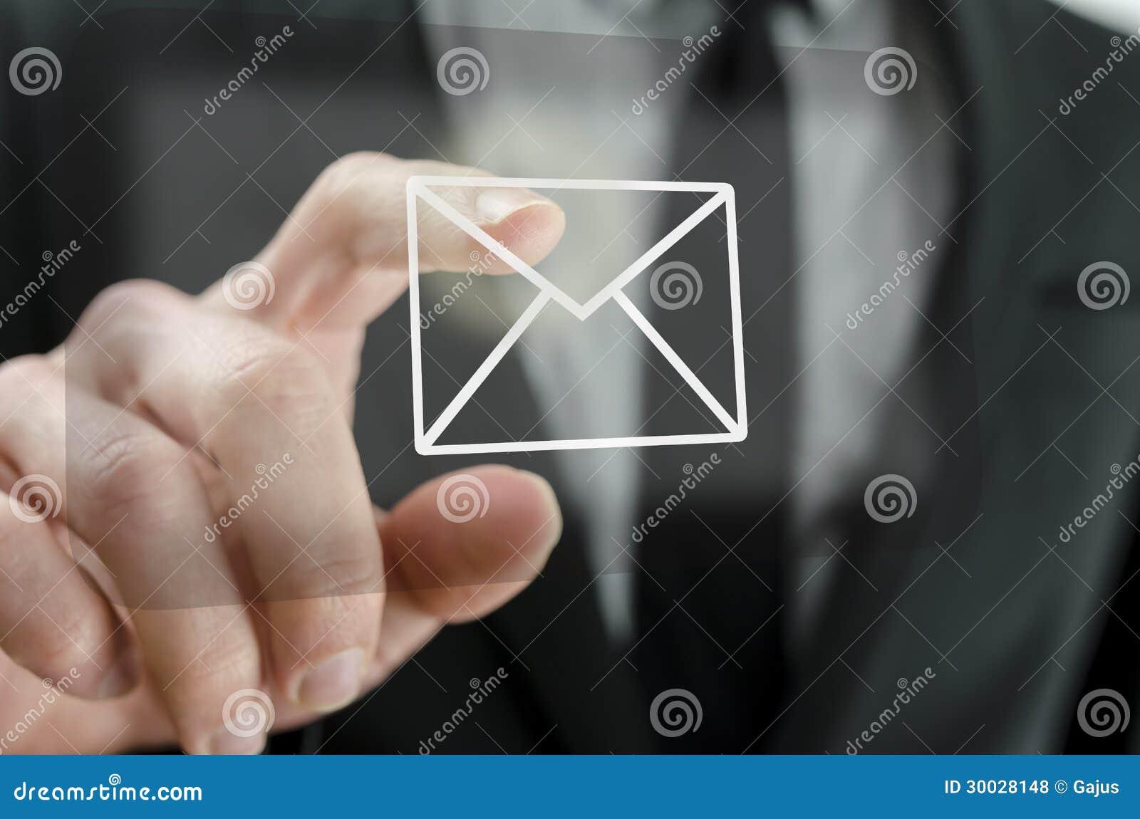 Икона электронной почты бизнесмена касающая