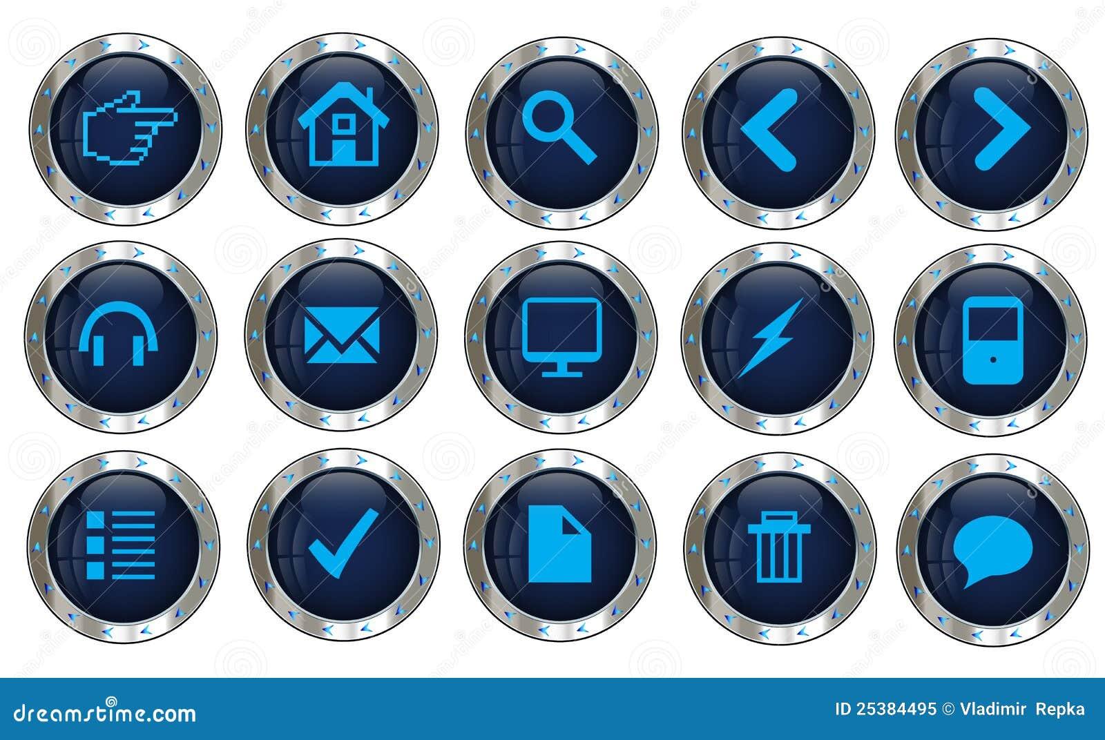 Иконы вебсайта вектора серебряные