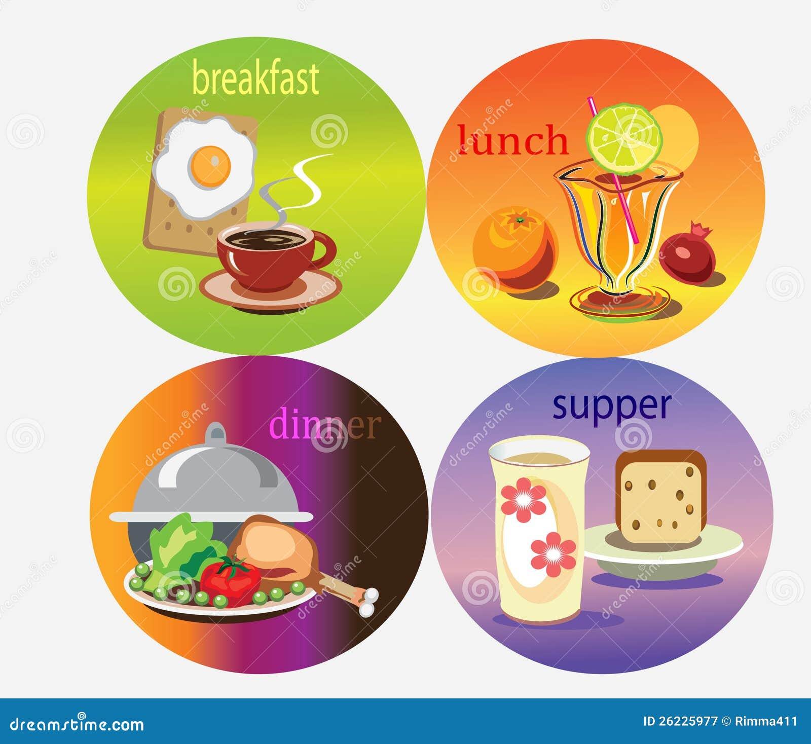 Рисунок ужин завтрак обед