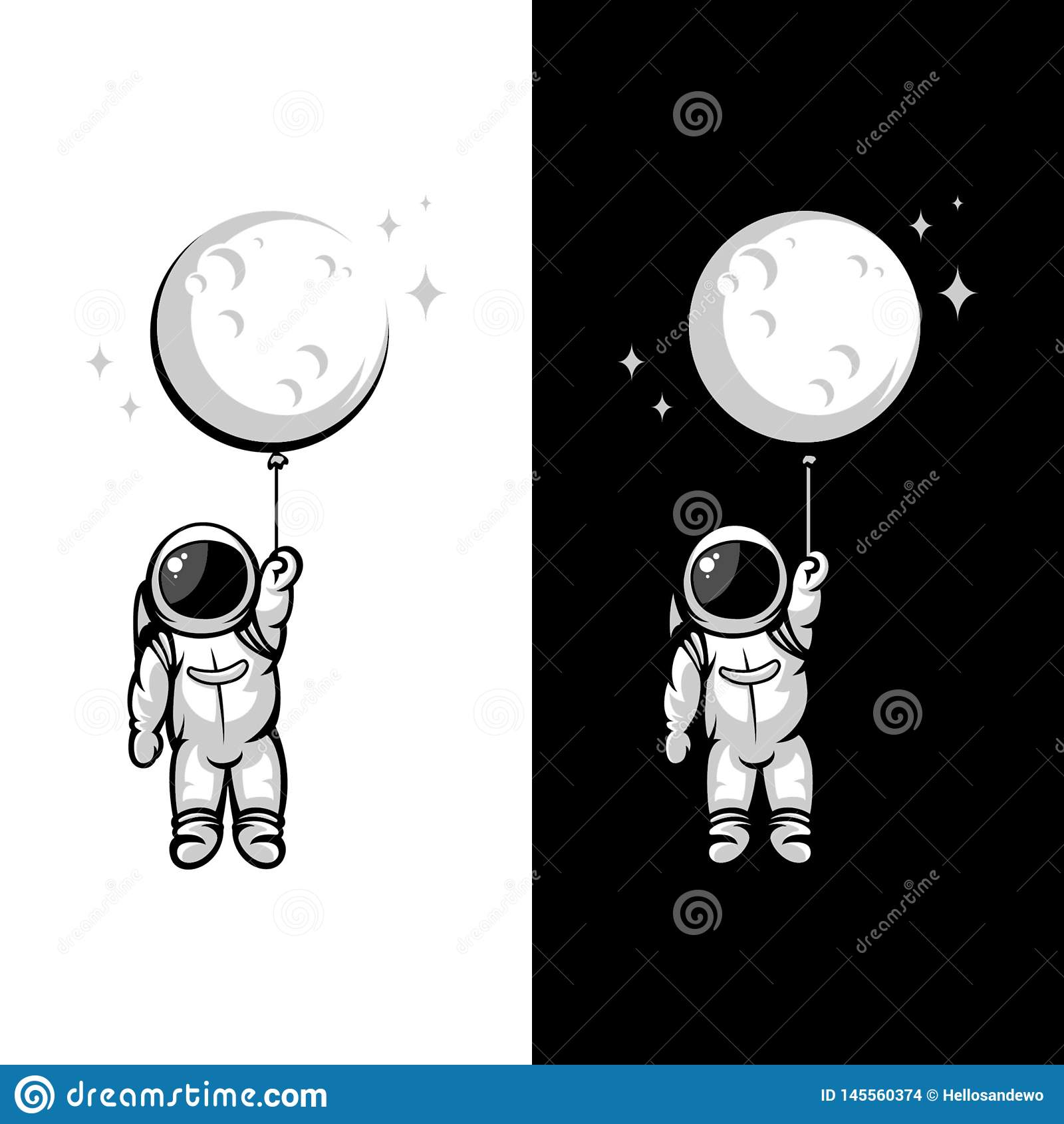Иллюстрации воздушного шара луны астронавта