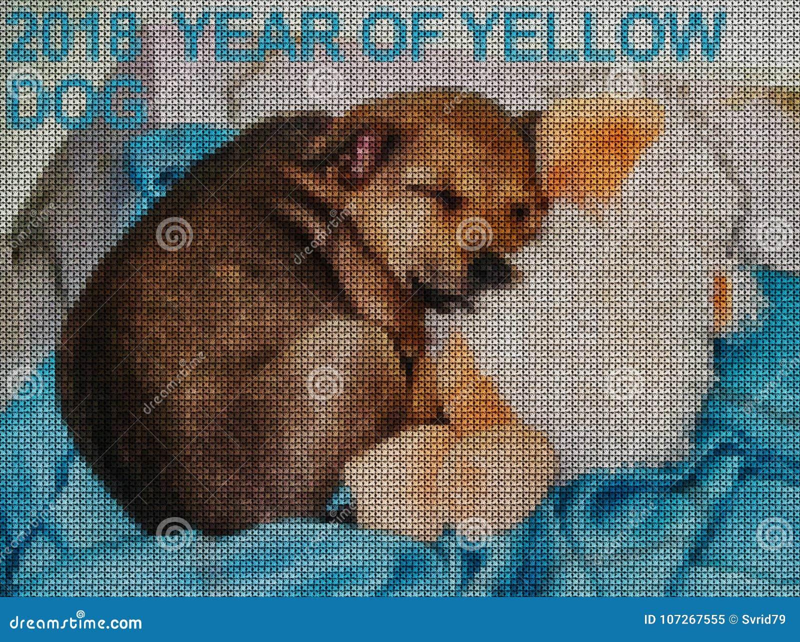 иллюстрации Вышивка крестиком Желтая собака