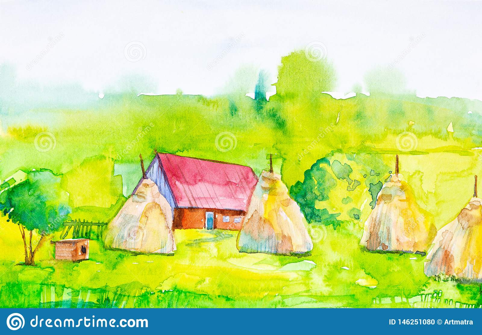 Иллюстрация акварели дома в деревне и стогов сена с конурой на переднем плане Зеленый лес на заднем плане