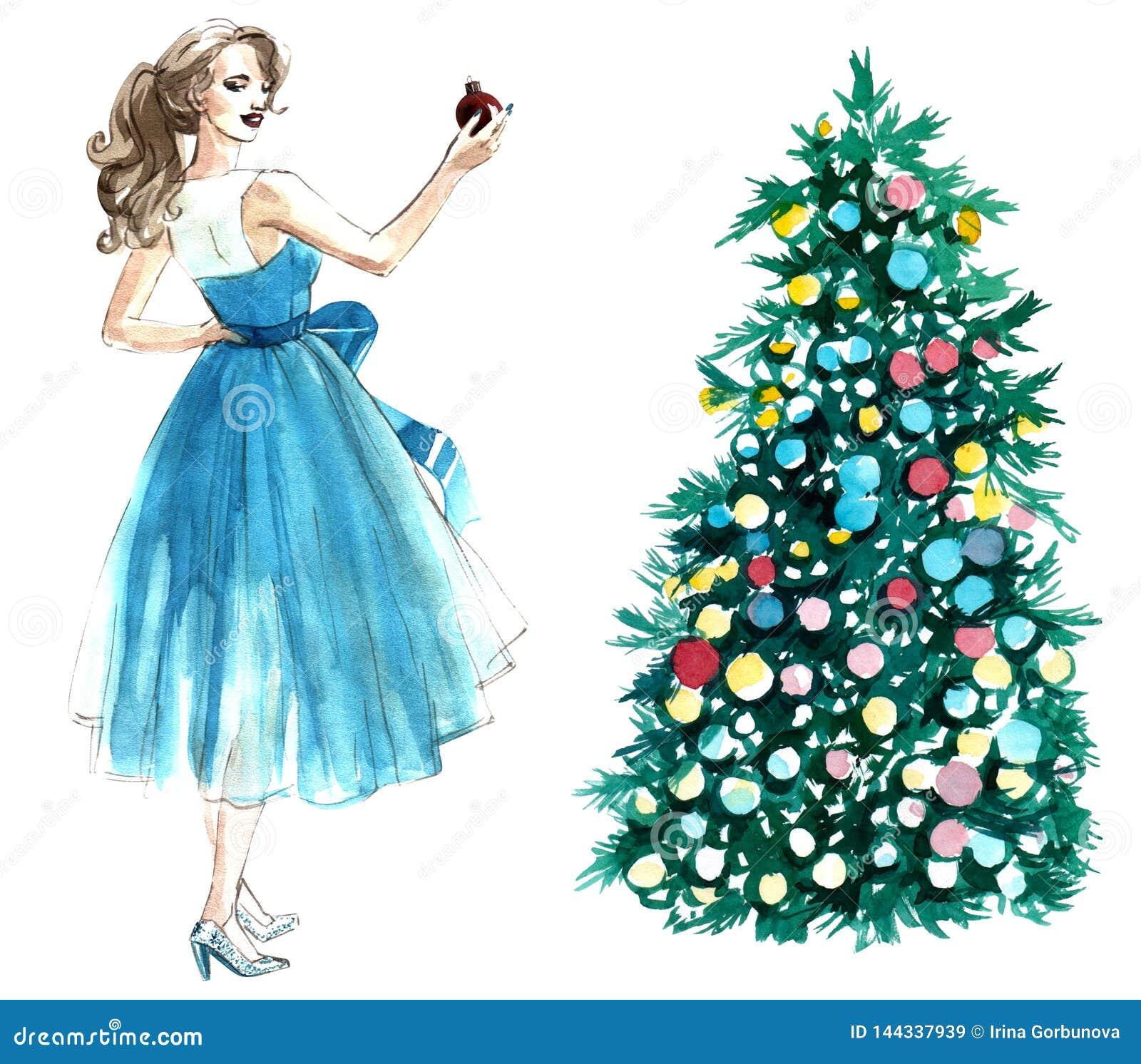 Иллюстрация акварели женщины с шариком украшая рождественскую елку изолированную на белой предпосылке