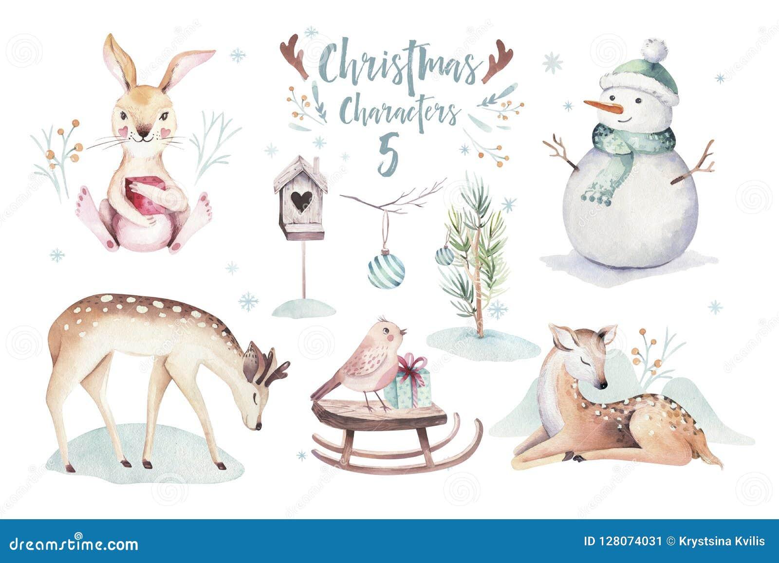 Иллюстрация акварели с Рождеством Христовым с снеговиком, животными оленями праздника милыми, кроликом Карточки торжества рождест