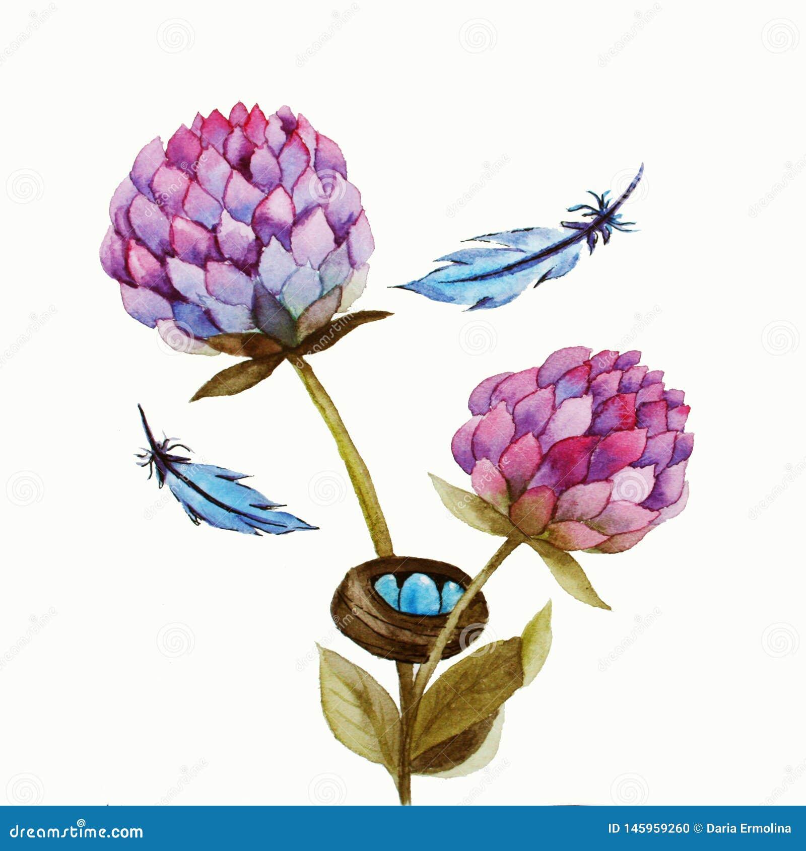 Иллюстрация акварели с розовым цветком