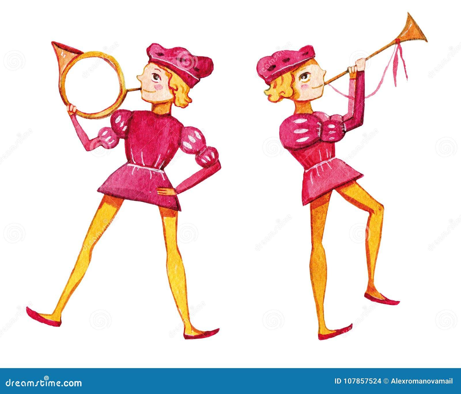 Иллюстрация акварели 2 трубачей
