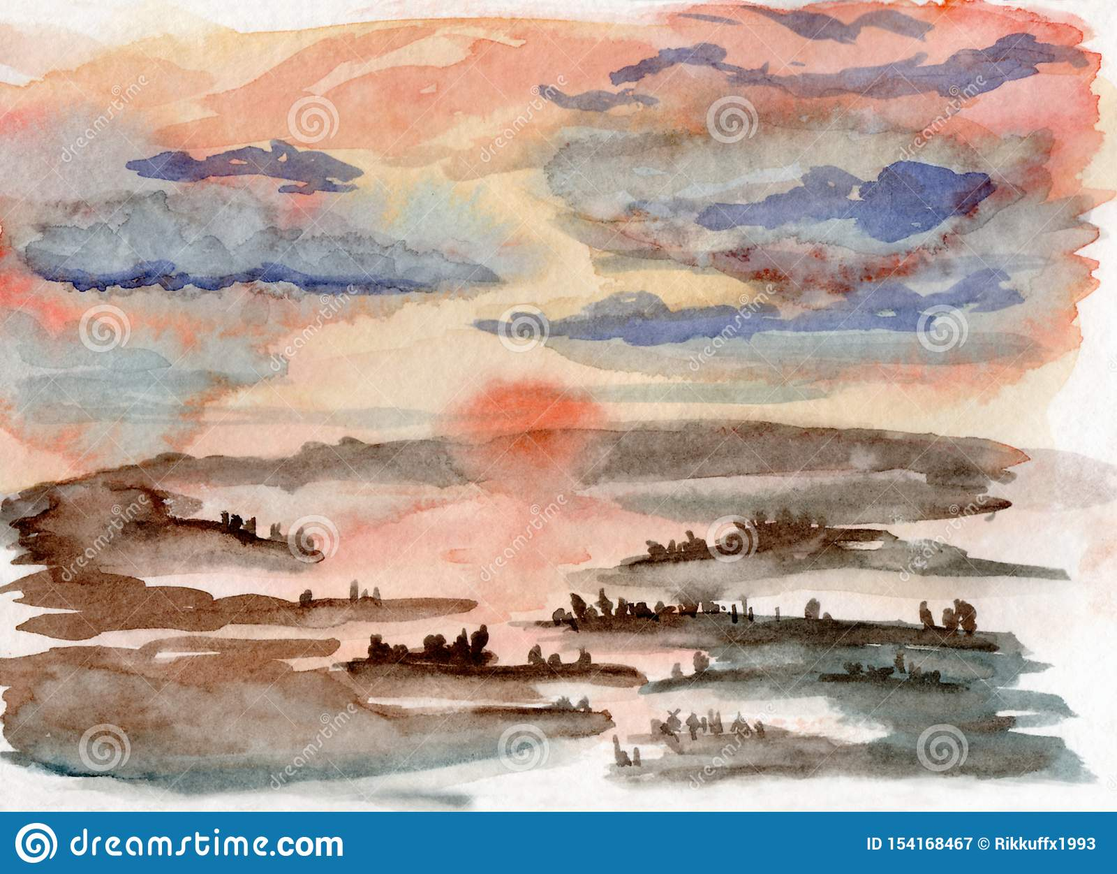 Иллюстрация акварели туманного захода солнца в лесе с отражением реки