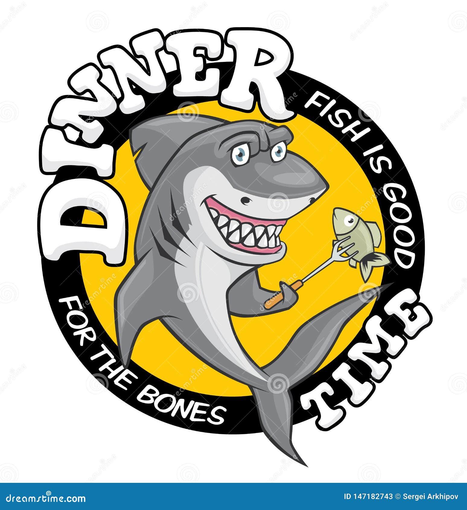 Иллюстрация акулы времени обедающего Милая усмехаясь голодная акула, идя съесть рыб на вилке