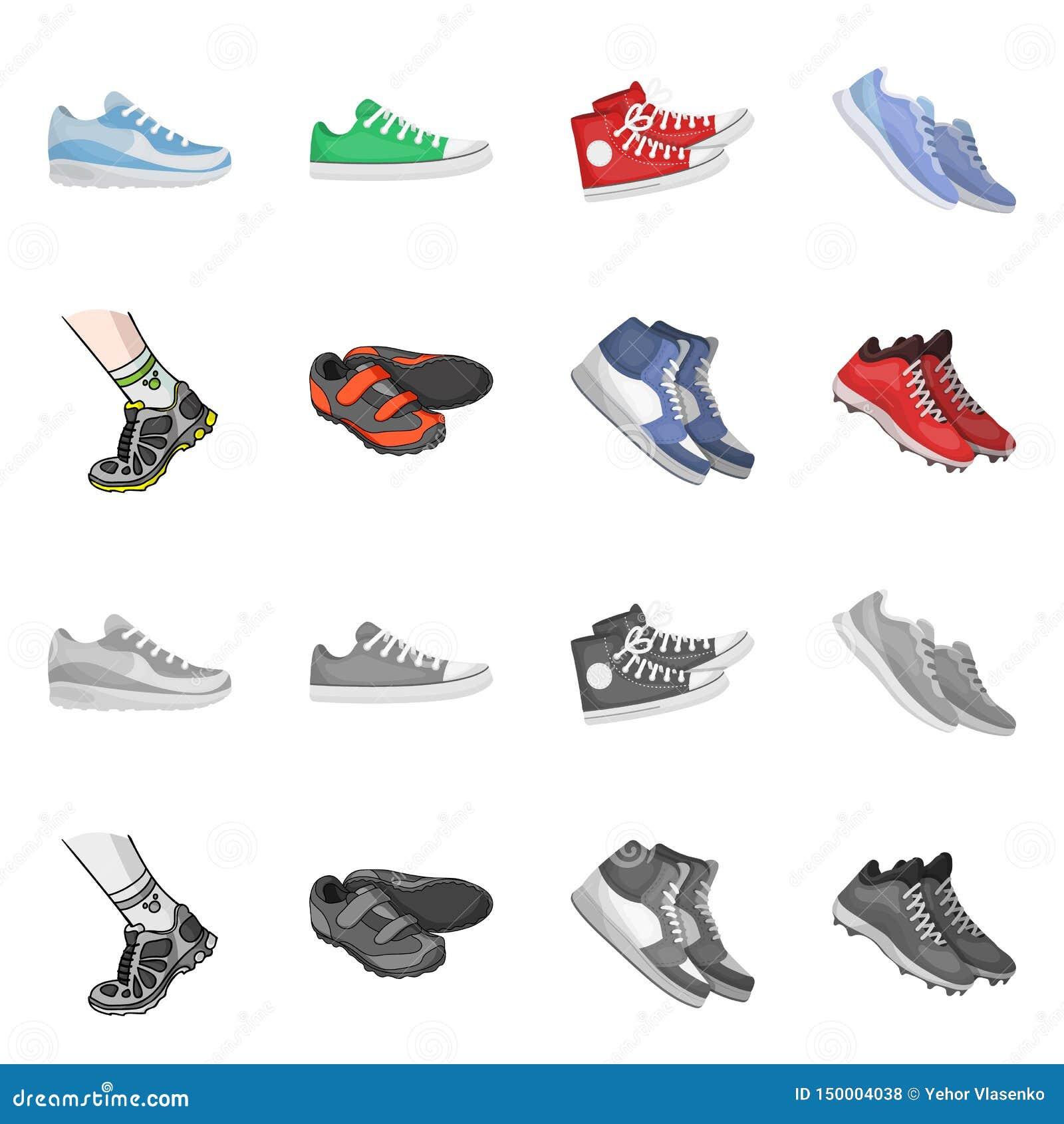 Иллюстрация вектора ботинка и символа спорта Собрание ботинка и иллюстрации вектора запаса фитнеса
