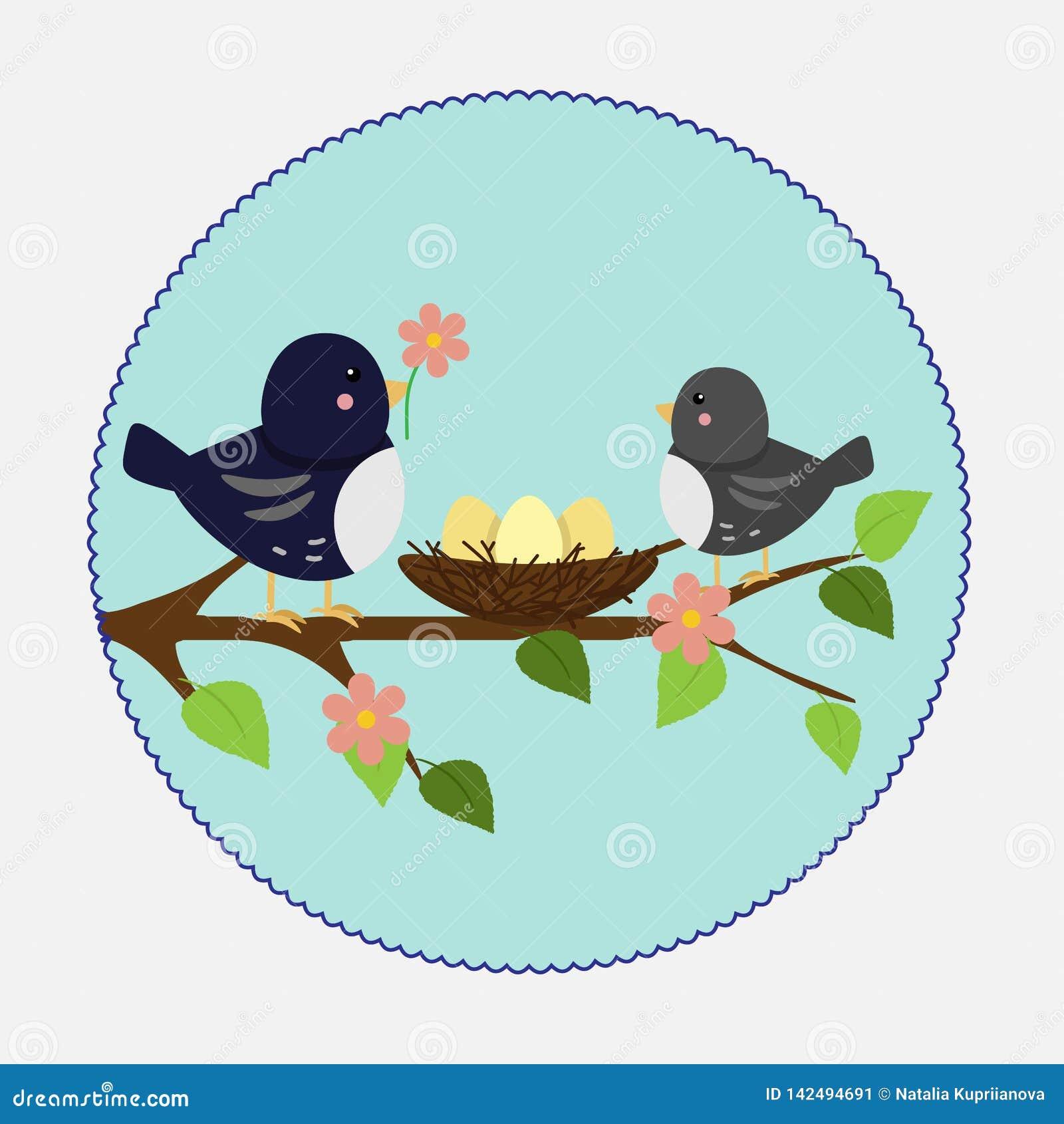 Иллюстрация вектора в плоском стиле Гнездо и птицы ветви