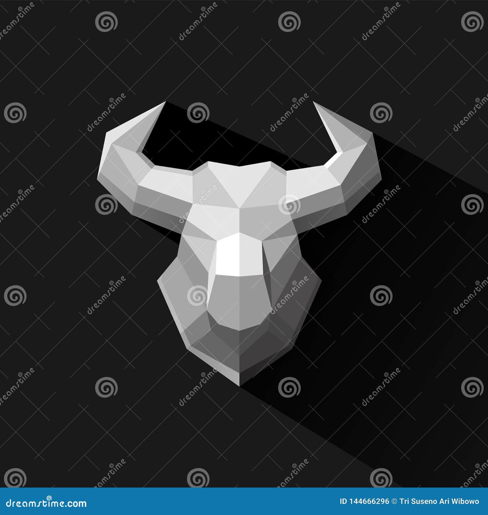 Иллюстрация вектора дизайна логотипа полигона Bull