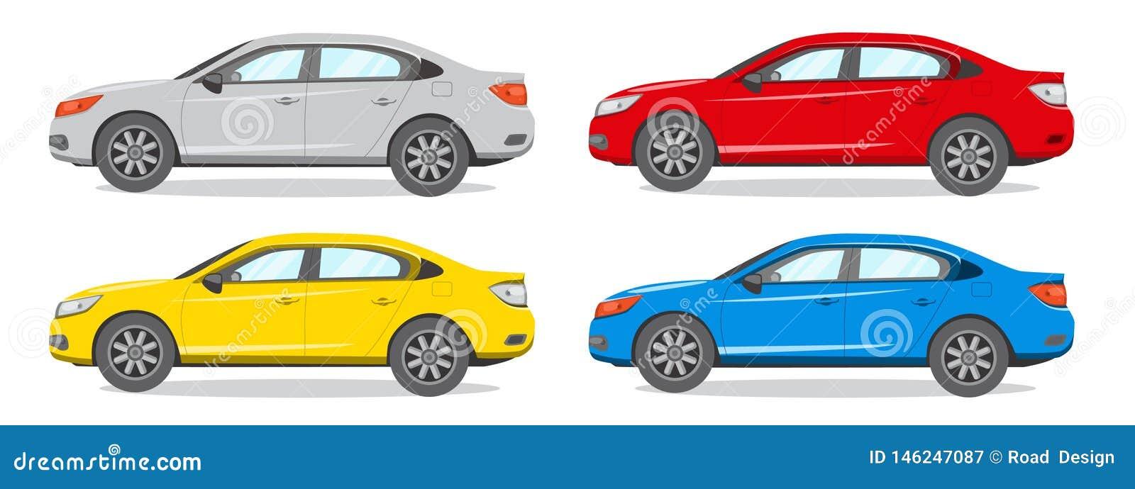 Иллюстрация вектора другого цвета седана Значок автомобиля