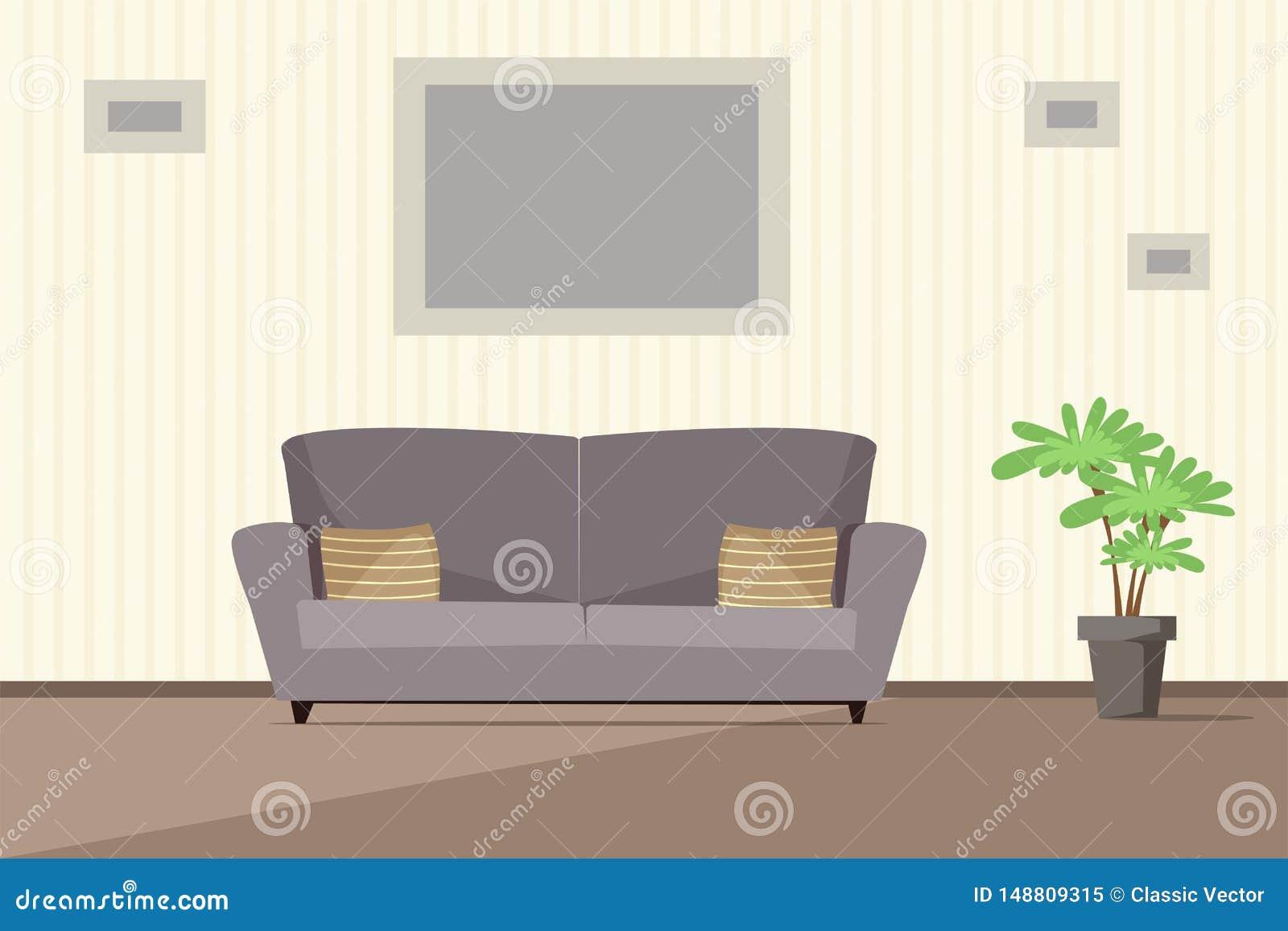 Иллюстрация вектора живущей комнаты современная внутренняя