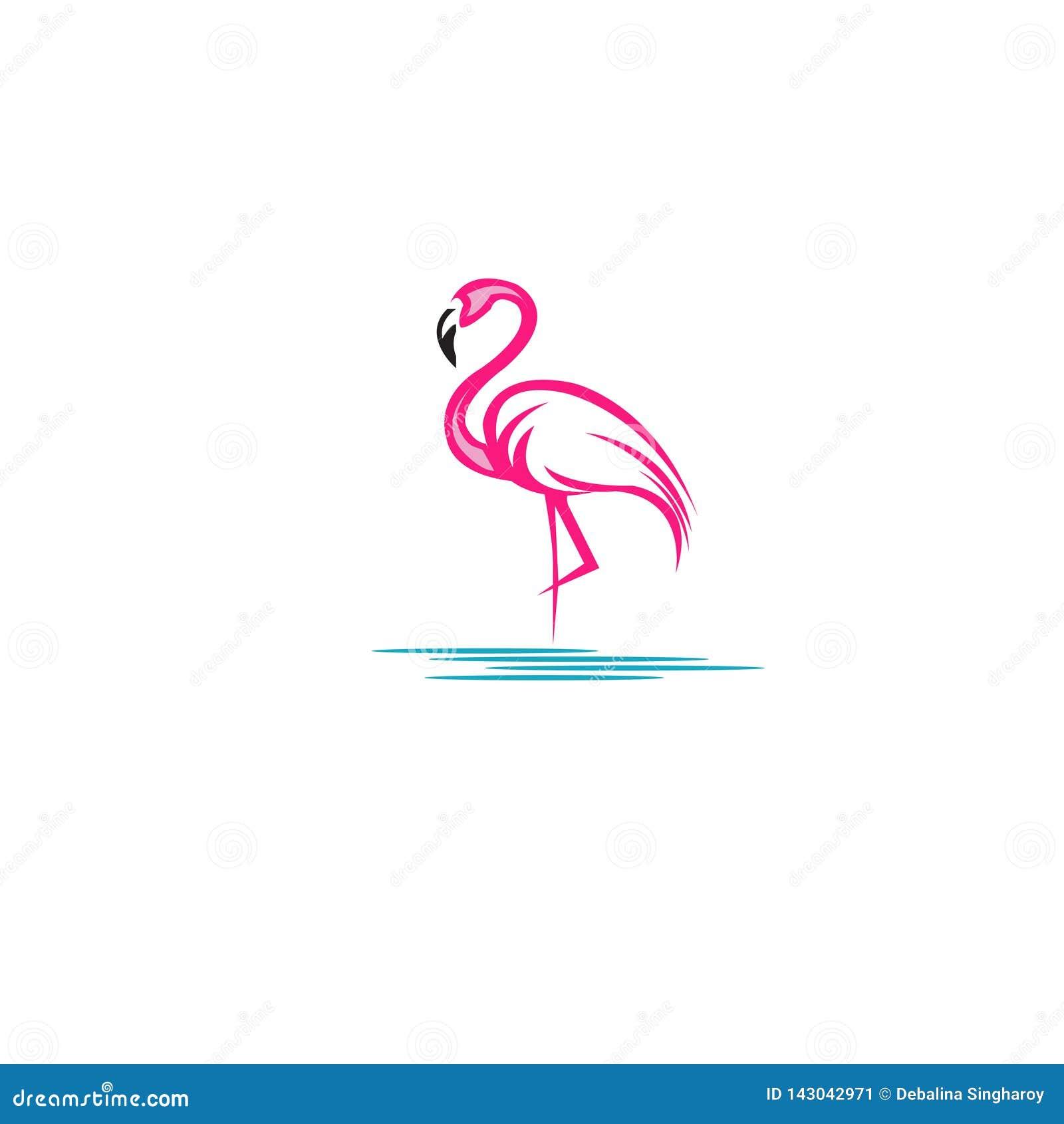 Иллюстрация вектора запаса пинка дизайна логотипа фламинго