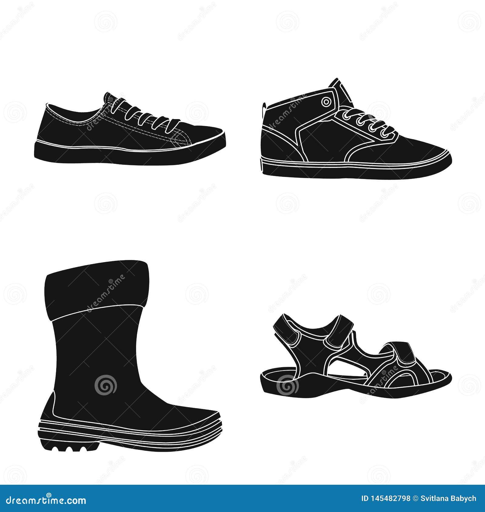 Иллюстрация вектора знака ботинка и обуви Собрание сокращенного названия выпуска акций ботинка и ноги для сети