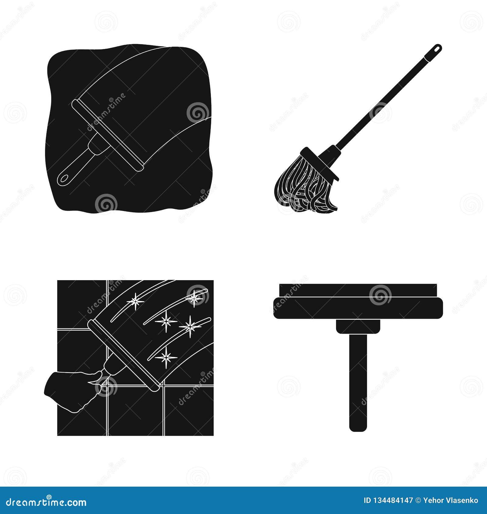 Иллюстрация вектора значка mop и веника Собрание mop и более чистой иллюстрации вектора запаса