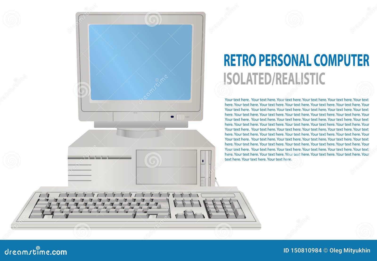 Иллюстрация вектора изолированного реалистического ретро персонального компьютера старый ПК 3D с дисплеем, клавиатурой Компьютер