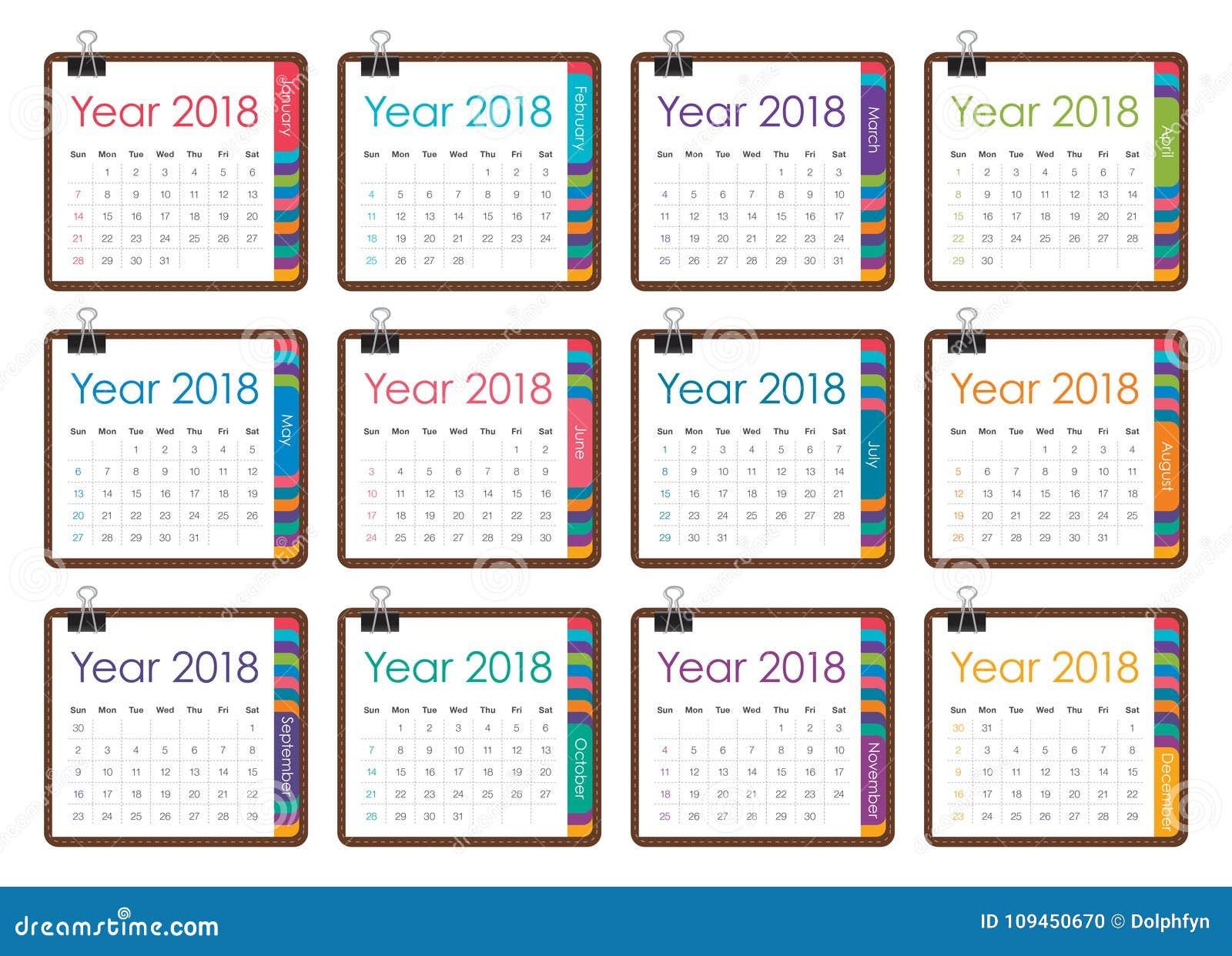 Иллюстрация вектора календаря года 2018